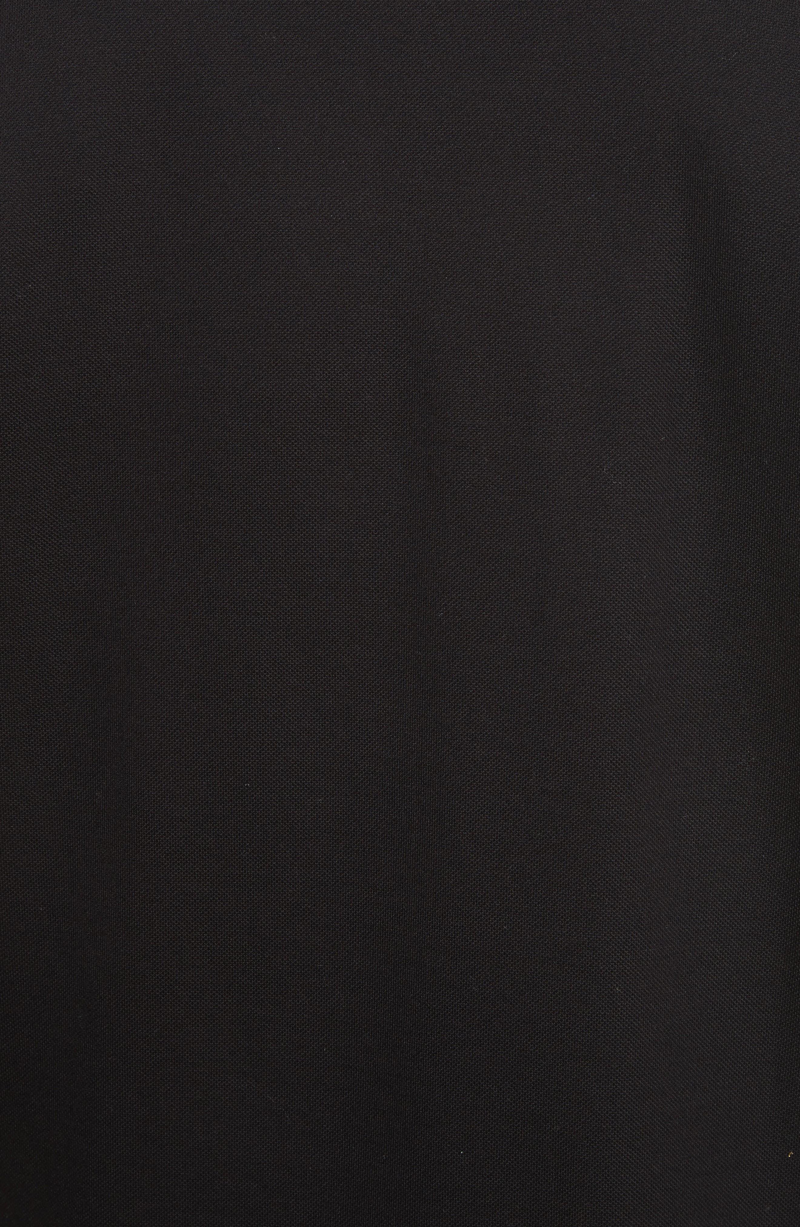 Print Collar Piqué Polo,                             Alternate thumbnail 5, color,                             Black Paint