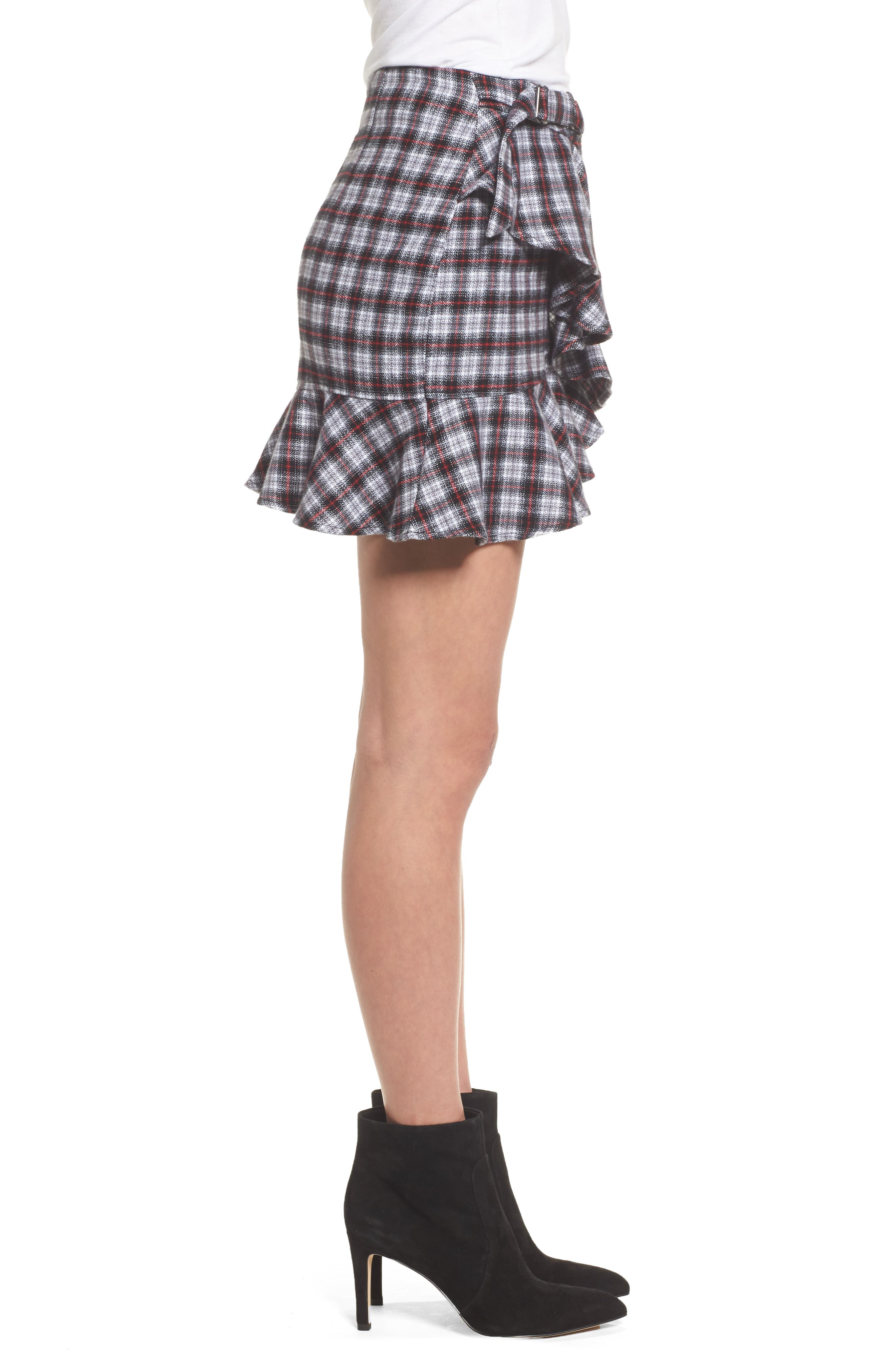 Dominic Asymmetrical Ruffle Skirt,                             Alternate thumbnail 3, color,                             Multi Flannel