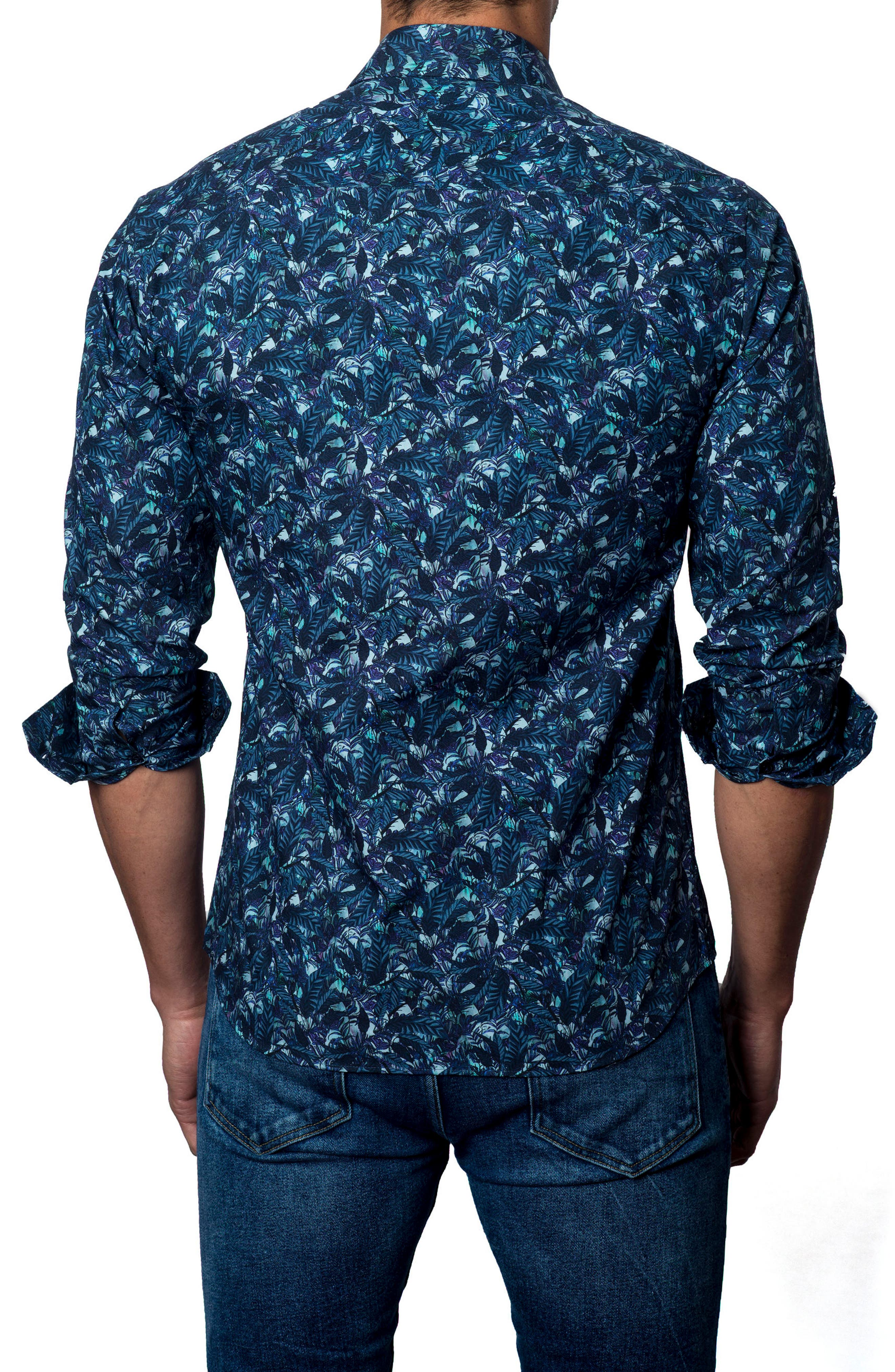 Floral Print Sport Shirt,                             Alternate thumbnail 2, color,                             Navy Leafs
