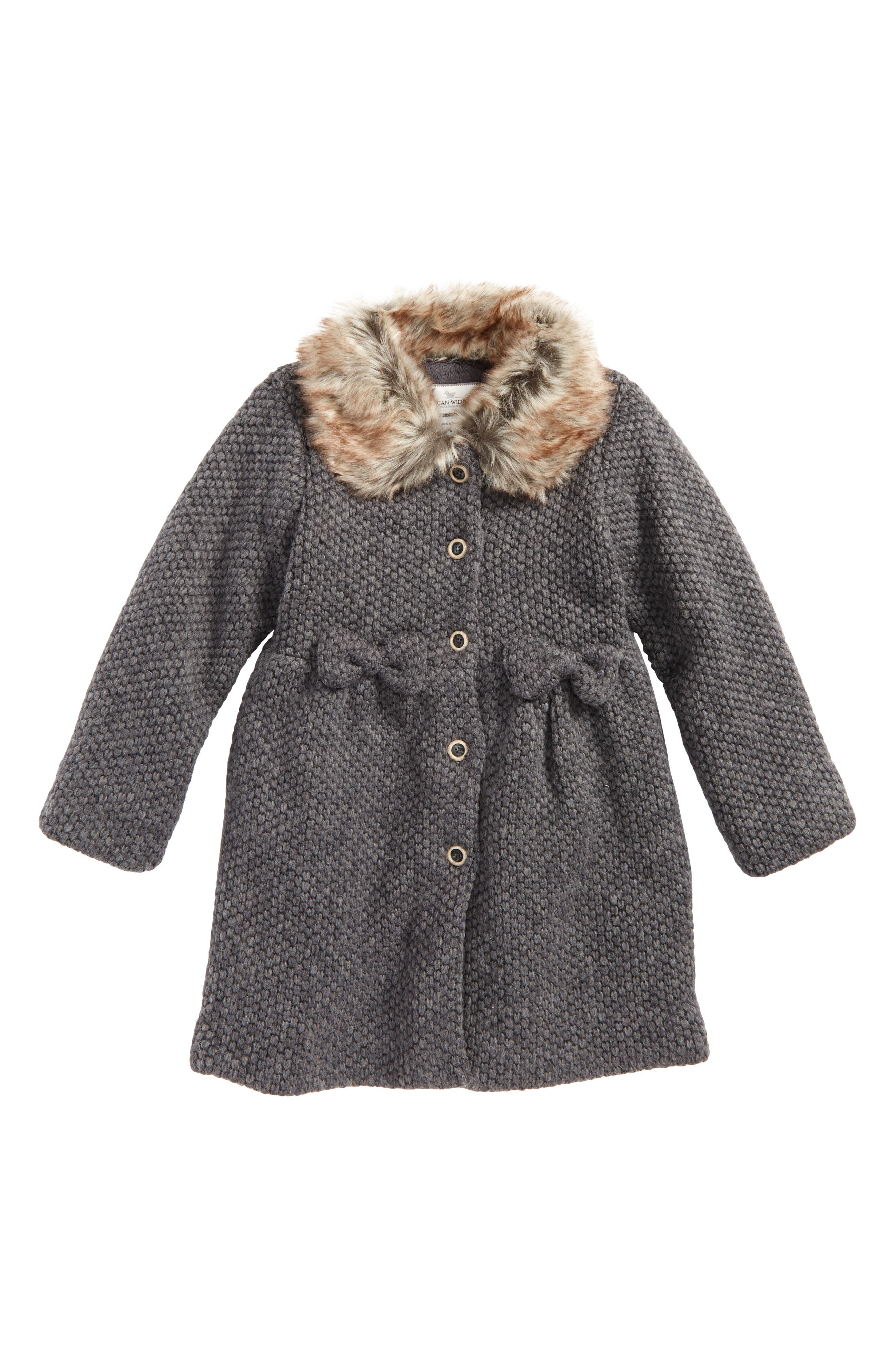 Widgeon Faux Fur Collar Coat (Toddler Girls & Little Girls)