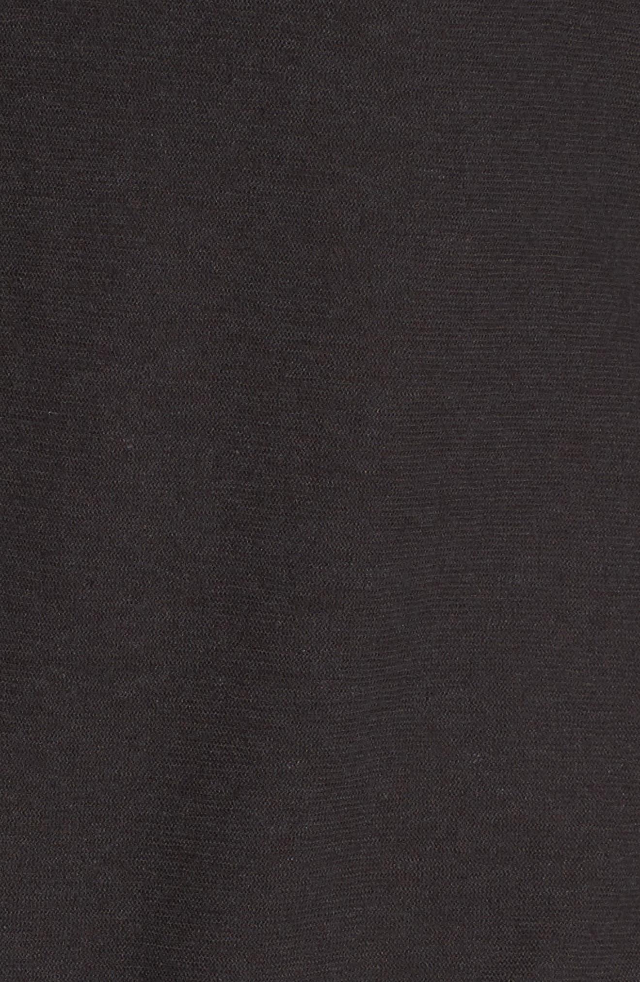 Cotton & Linen Button Front Tee,                             Alternate thumbnail 5, color,                             Carbon
