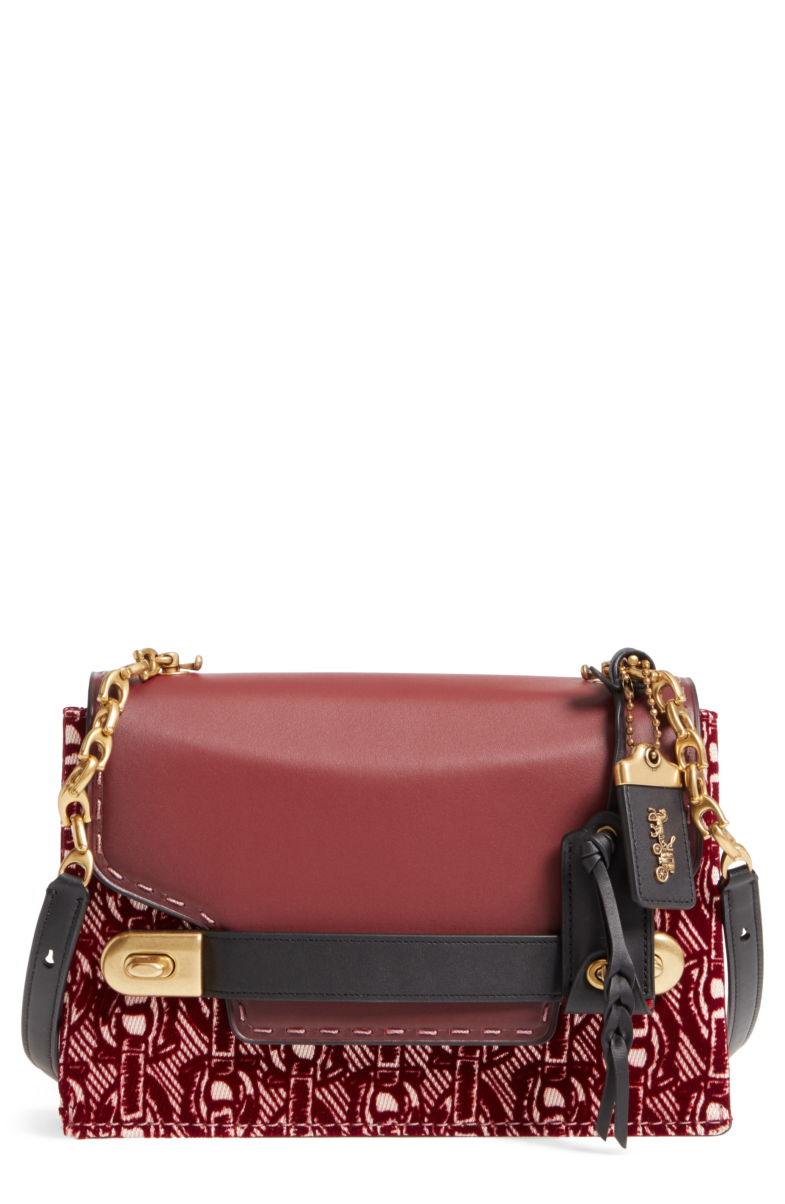 Swagger Chain Leather Crossbody Bag,                         Main,                         color, Bordeaux
