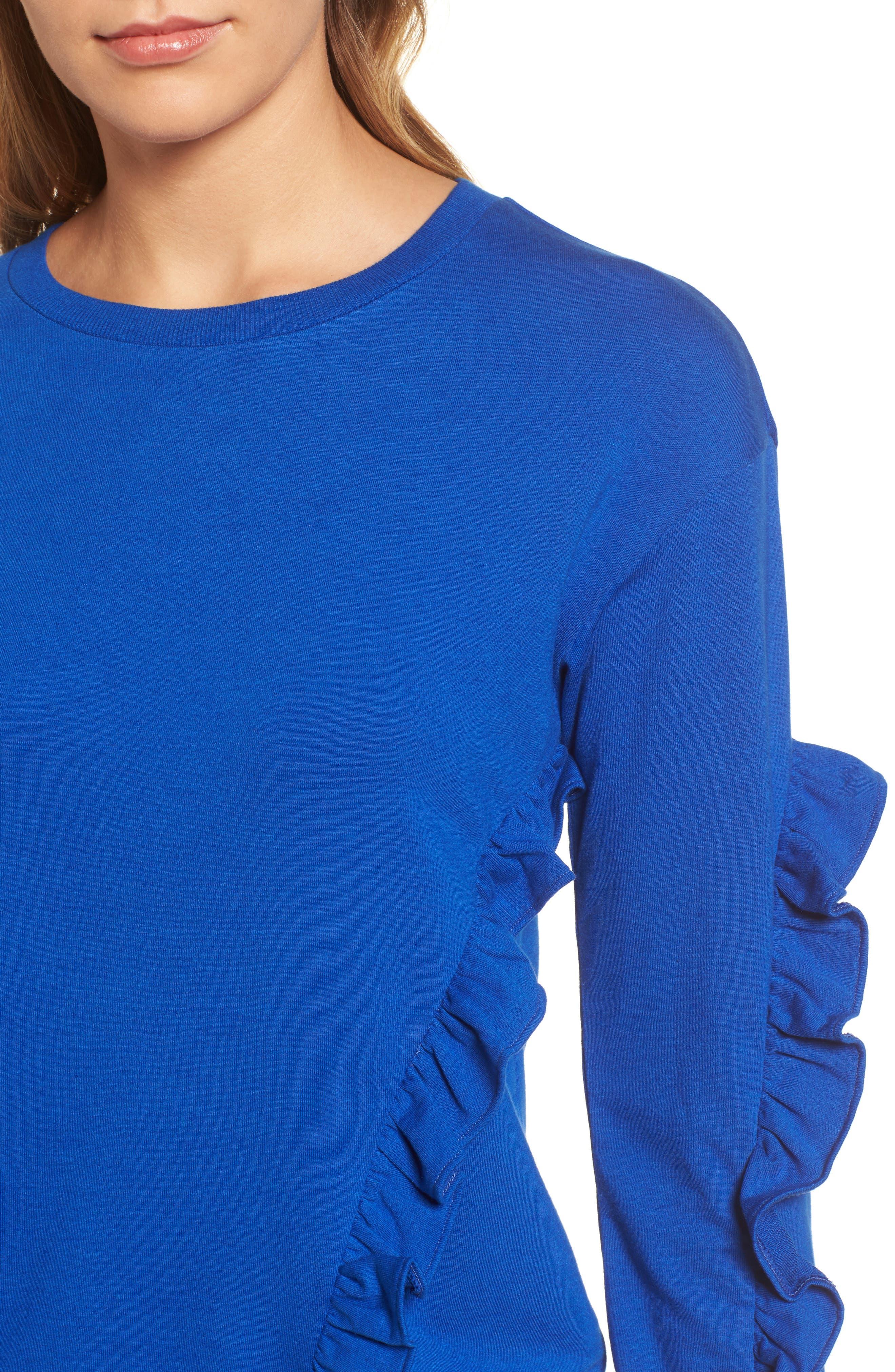 Ruffle Detail Sweatshirt,                             Alternate thumbnail 4, color,                             Blue Surf