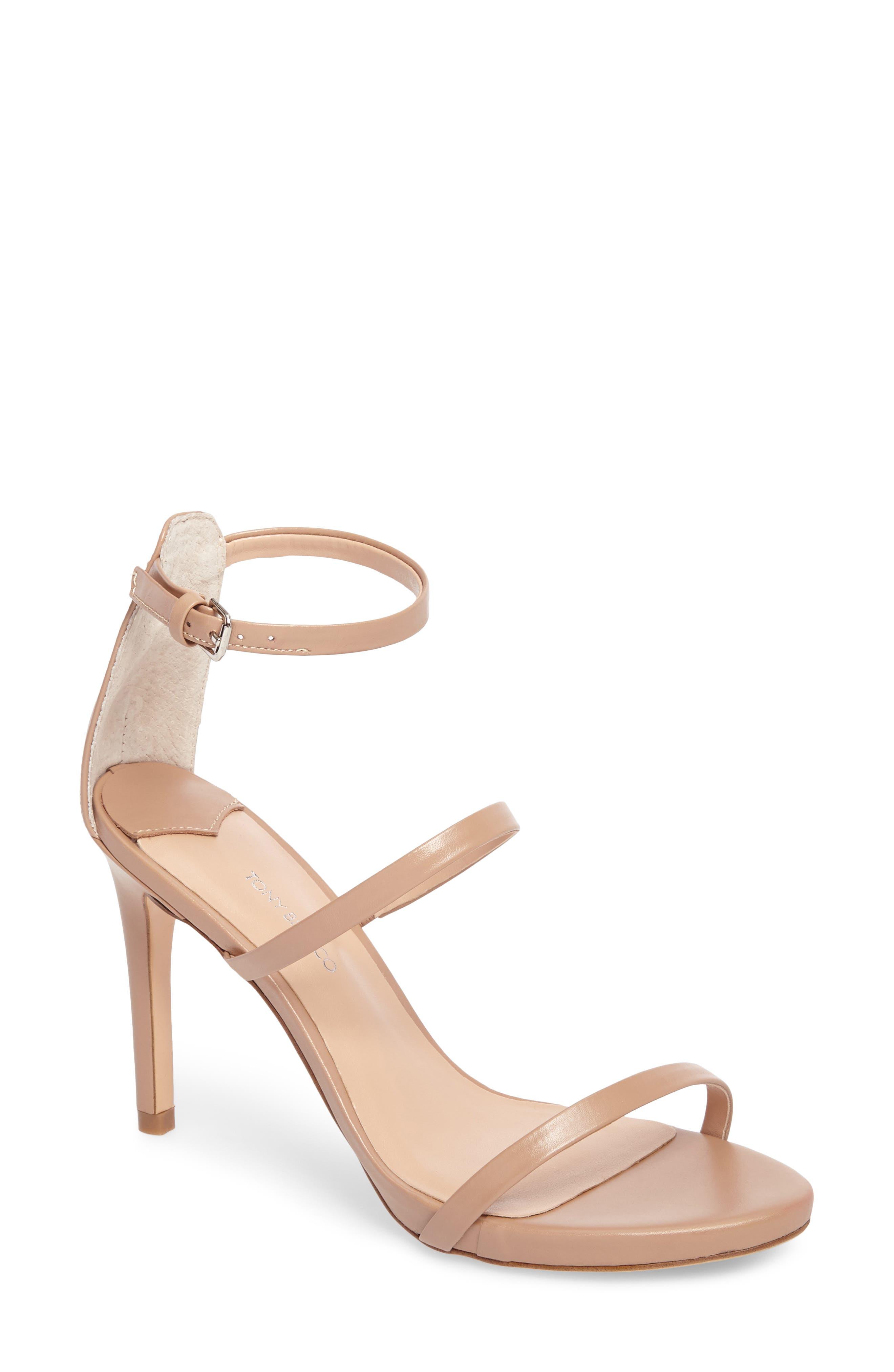 Carey Three-Strap Sandal,                         Main,                         color, Skin Capretto Leather
