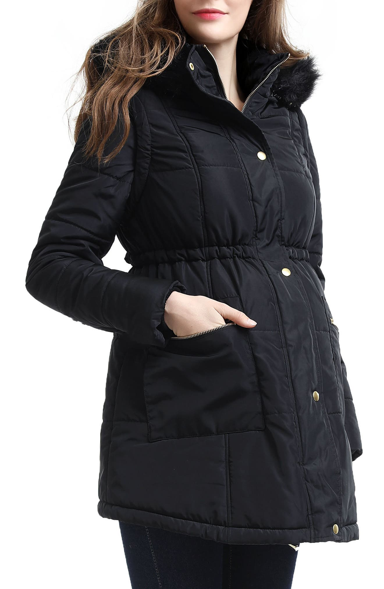 Mina 2-in-1 Hooded Maternity Coat,                             Alternate thumbnail 3, color,                             Black