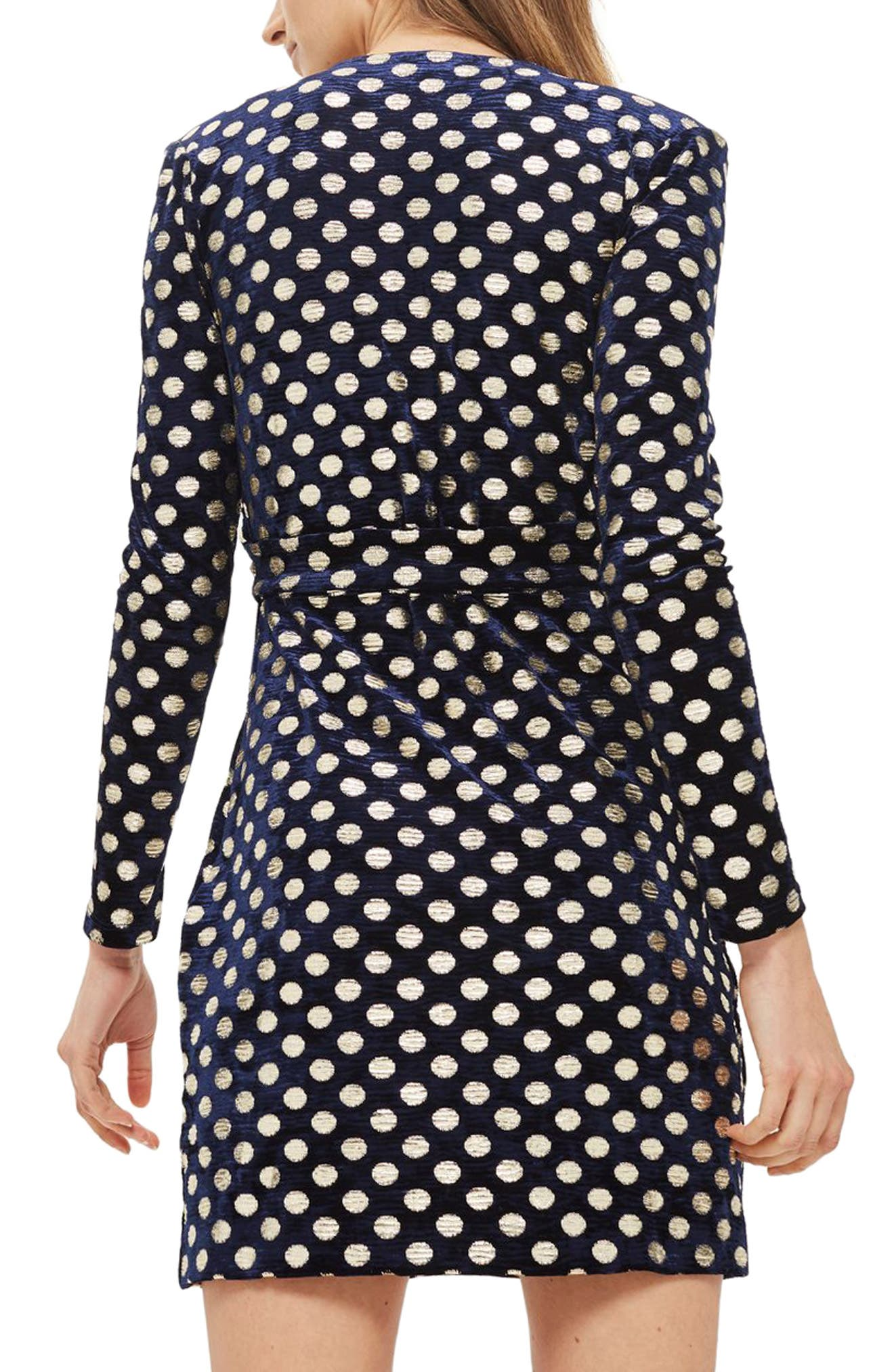 Foil Spot Wrap Dress,                             Alternate thumbnail 2, color,                             Navy Blue Multi