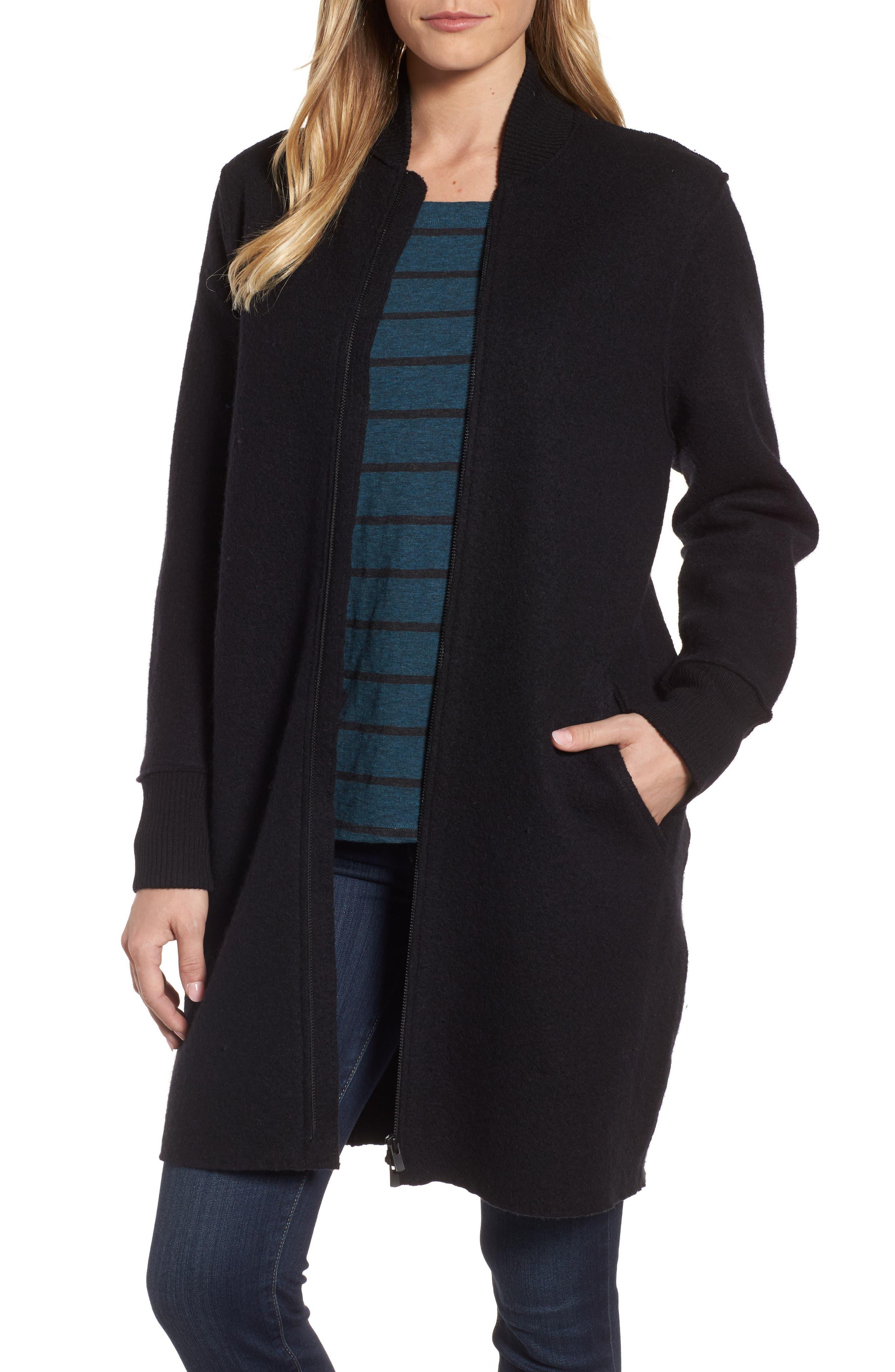 Boiled Wool Bomber Coat,                             Main thumbnail 1, color,                             Black