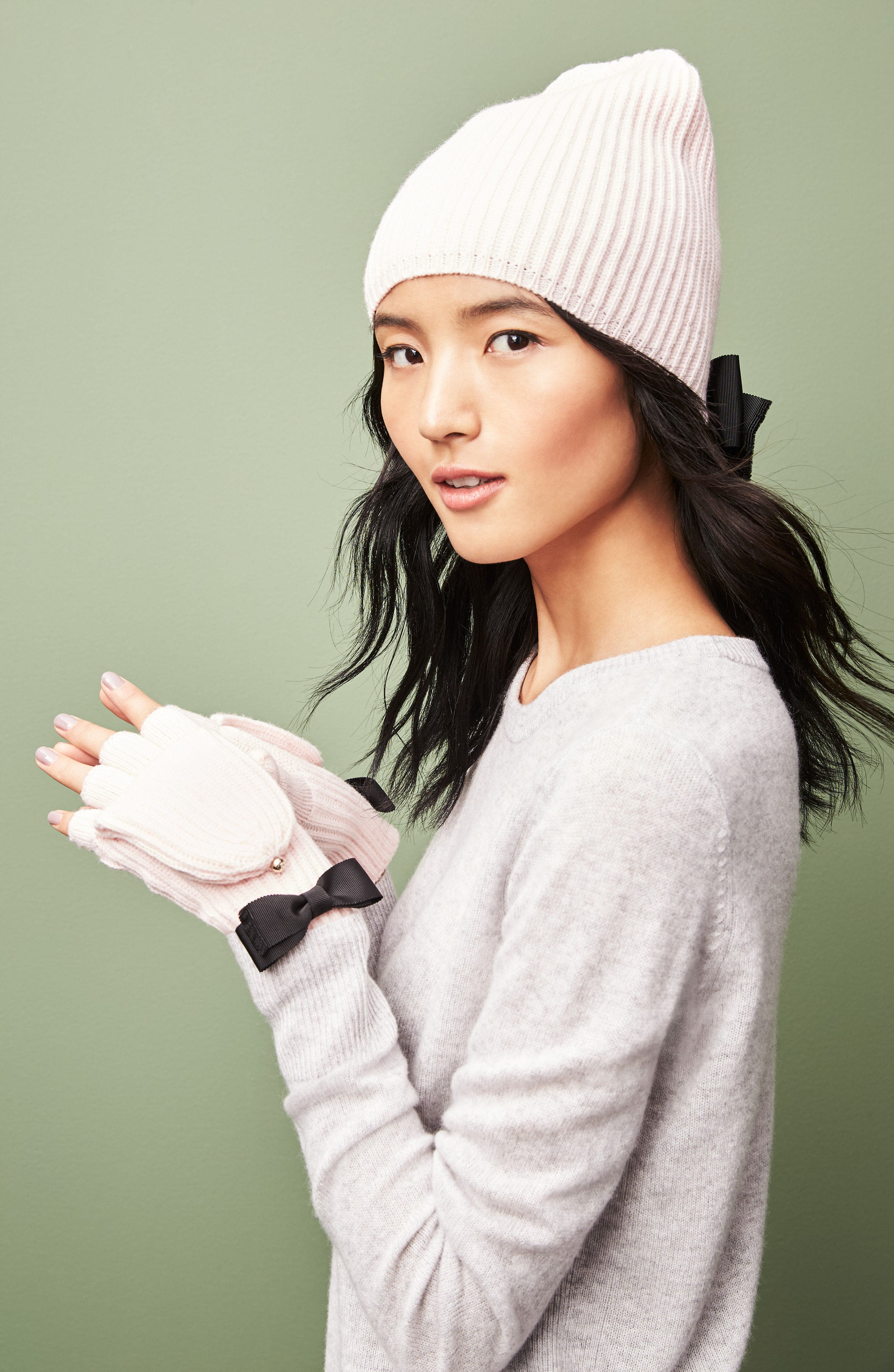 Alternate Image 3  - kate spade new york grosgrain bow knit beanie
