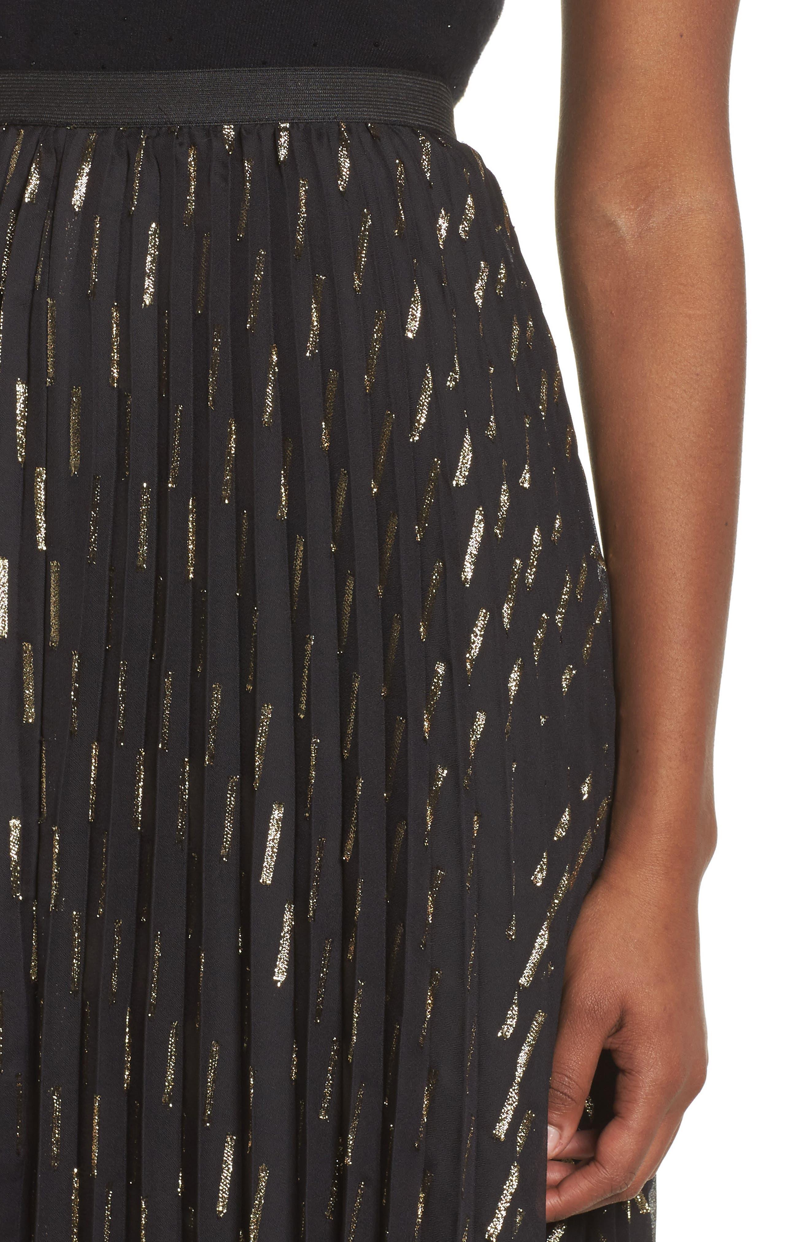 Metallic Detail Pleated Chiffon Maxi Skirt,                             Alternate thumbnail 6, color,                             Black Gold