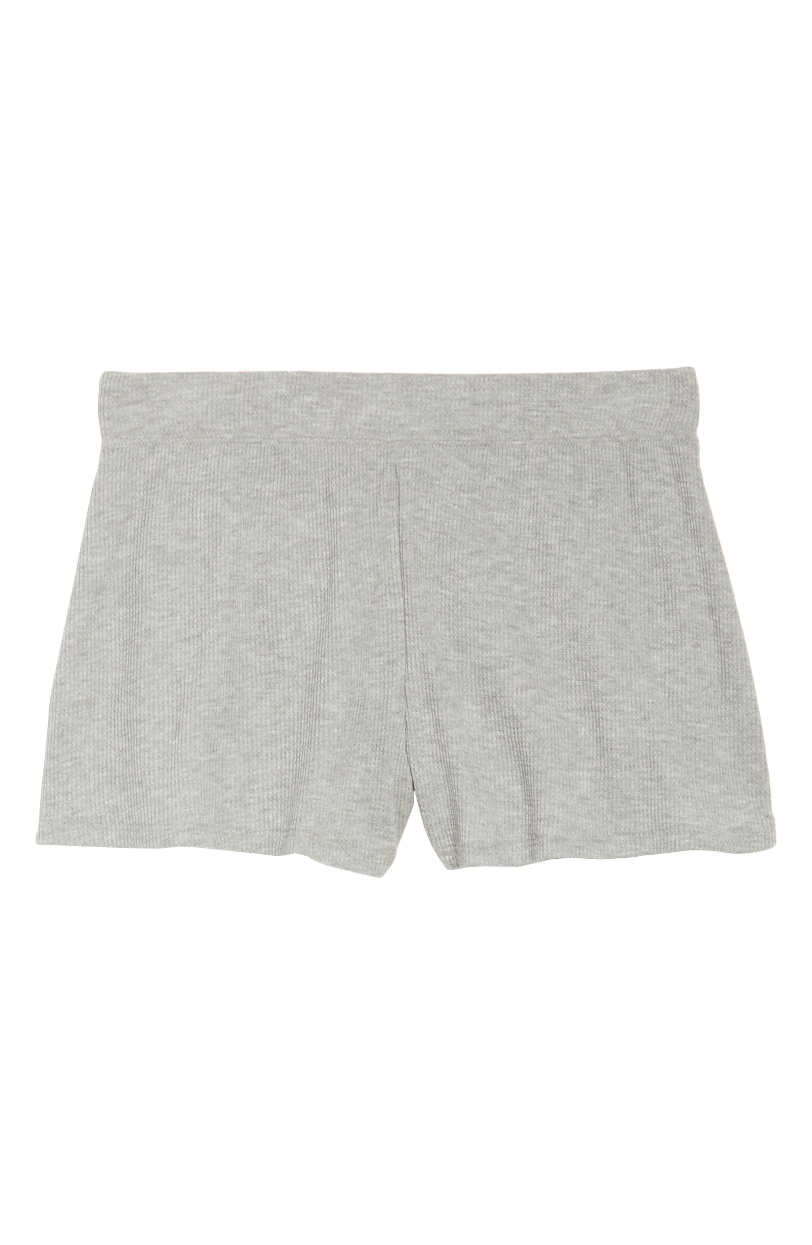 Waffle Knit Lounge Shorts,                             Alternate thumbnail 6, color,                             Heather Grey