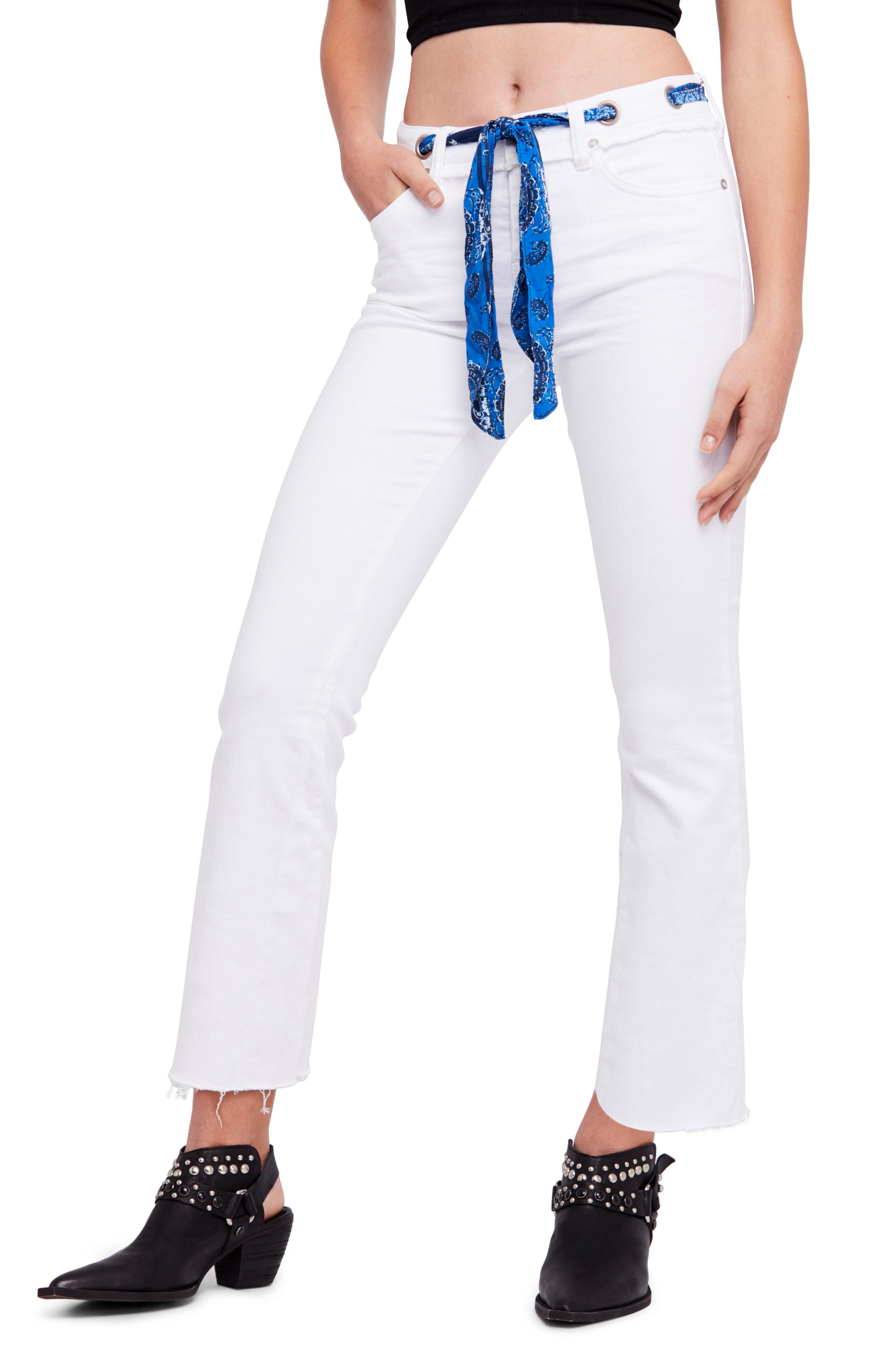 Belt Our Crop Bootcut Jeans,                         Main,                         color, Ivory