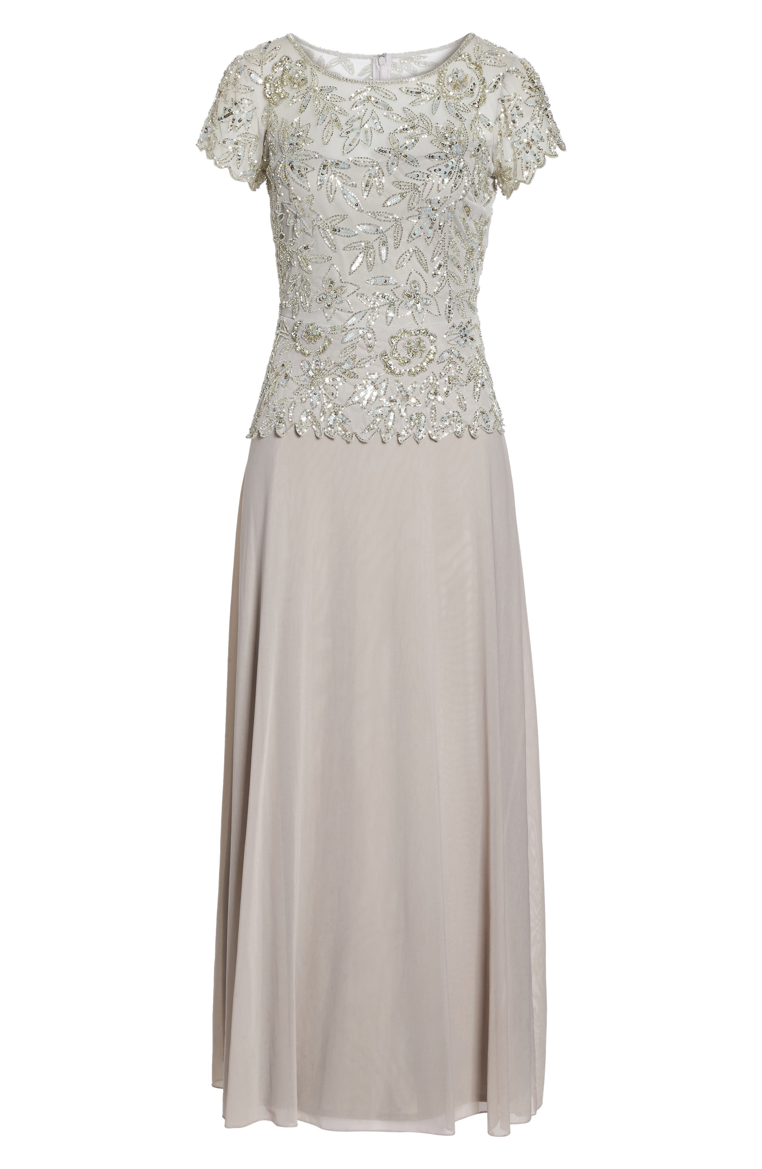 Beaded Mesh Mock Two-Piece Gown,                             Alternate thumbnail 6, color,                             Silver