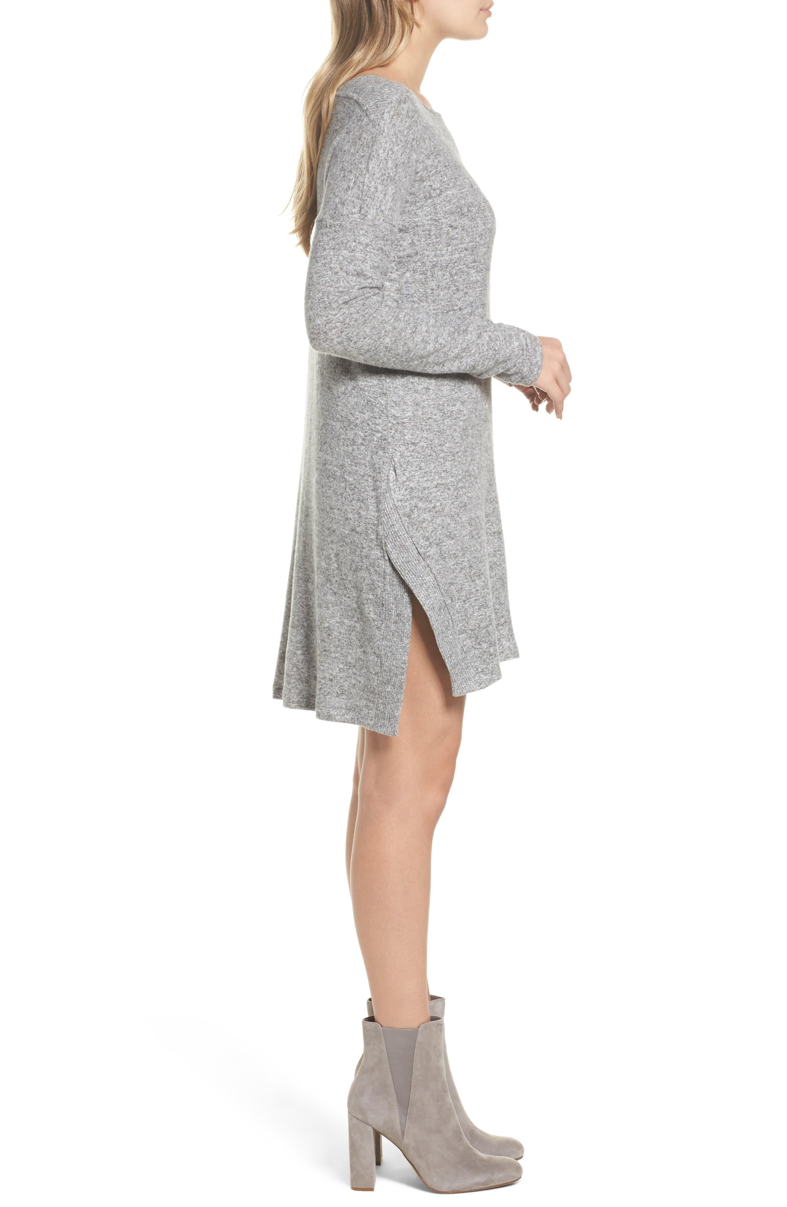 Sweater Dress,                             Alternate thumbnail 3, color,                             Grey