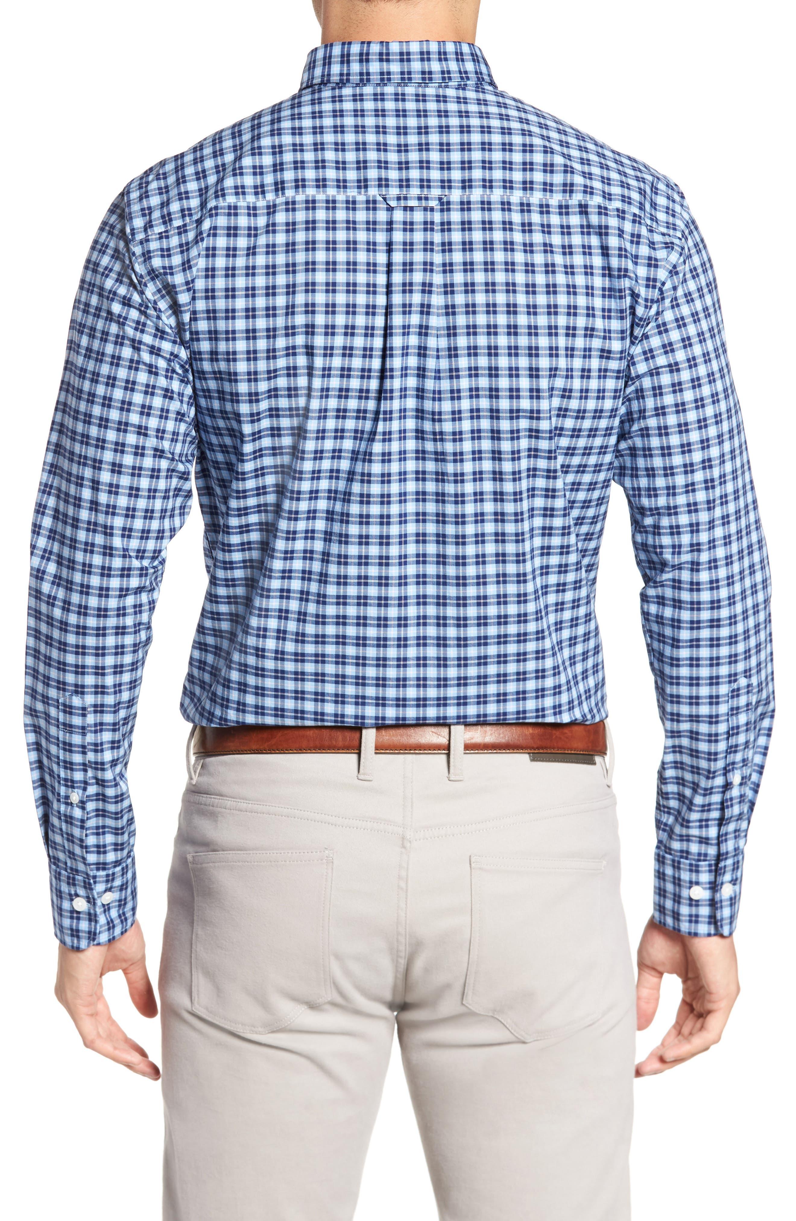 Crown Vintage Regular Fit Mini Plaid Sport Shirt,                             Alternate thumbnail 2, color,                             Tahoe Blue