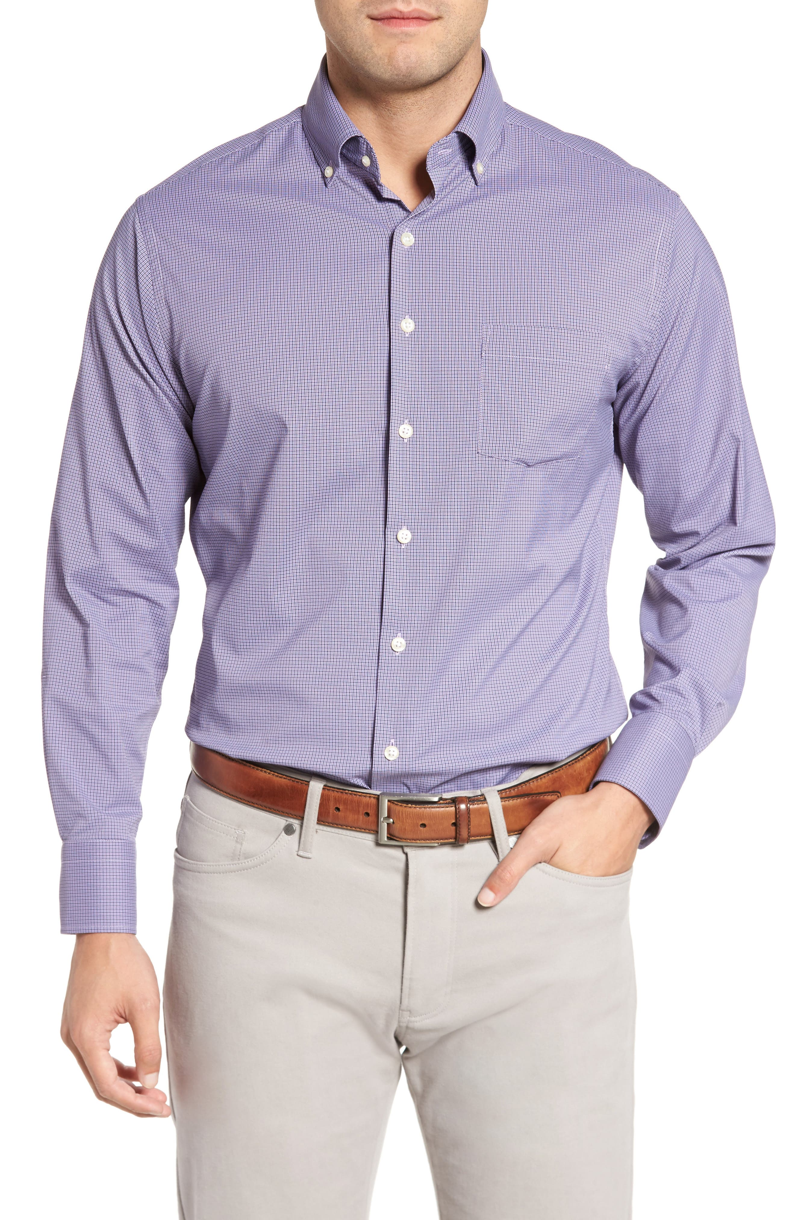 Parsons Check Performance Sport Shirt,                         Main,                         color, Muscadine