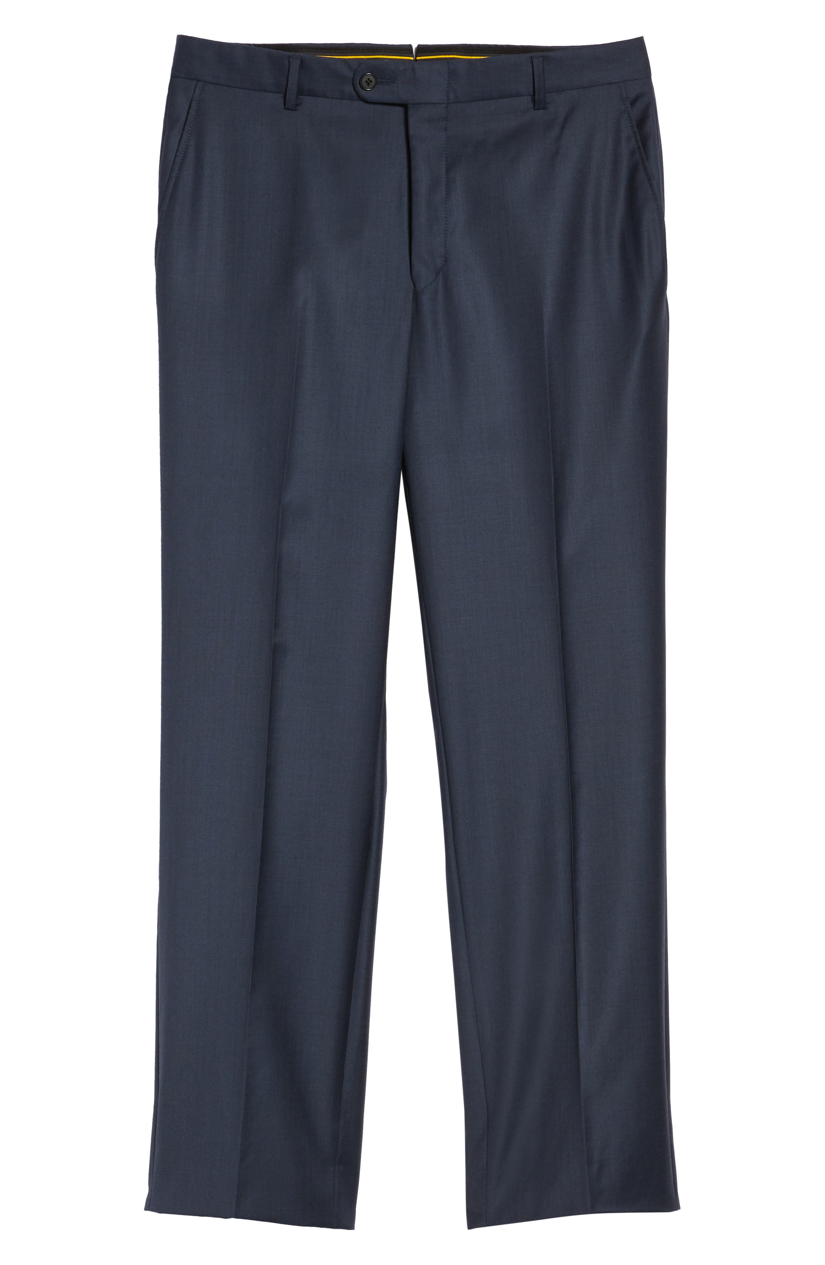 Classic B Fit Flat Front Solid Wool Trousers,                             Alternate thumbnail 6, color,                             Navy Sharkskin