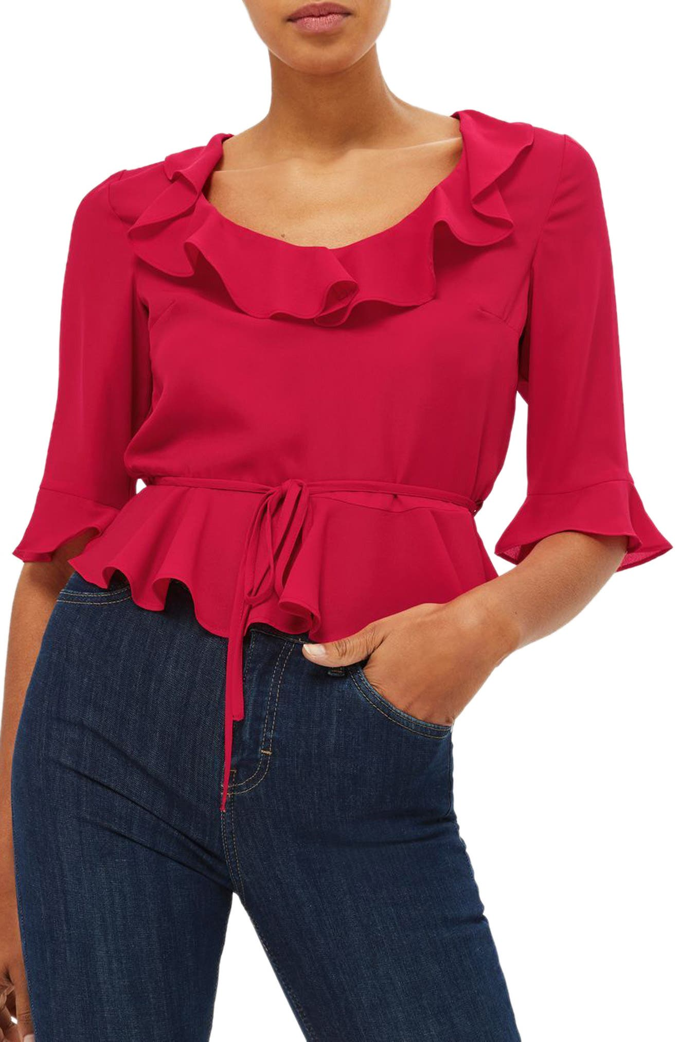 Phoebe Frilly Blouse,                         Main,                         color, Red