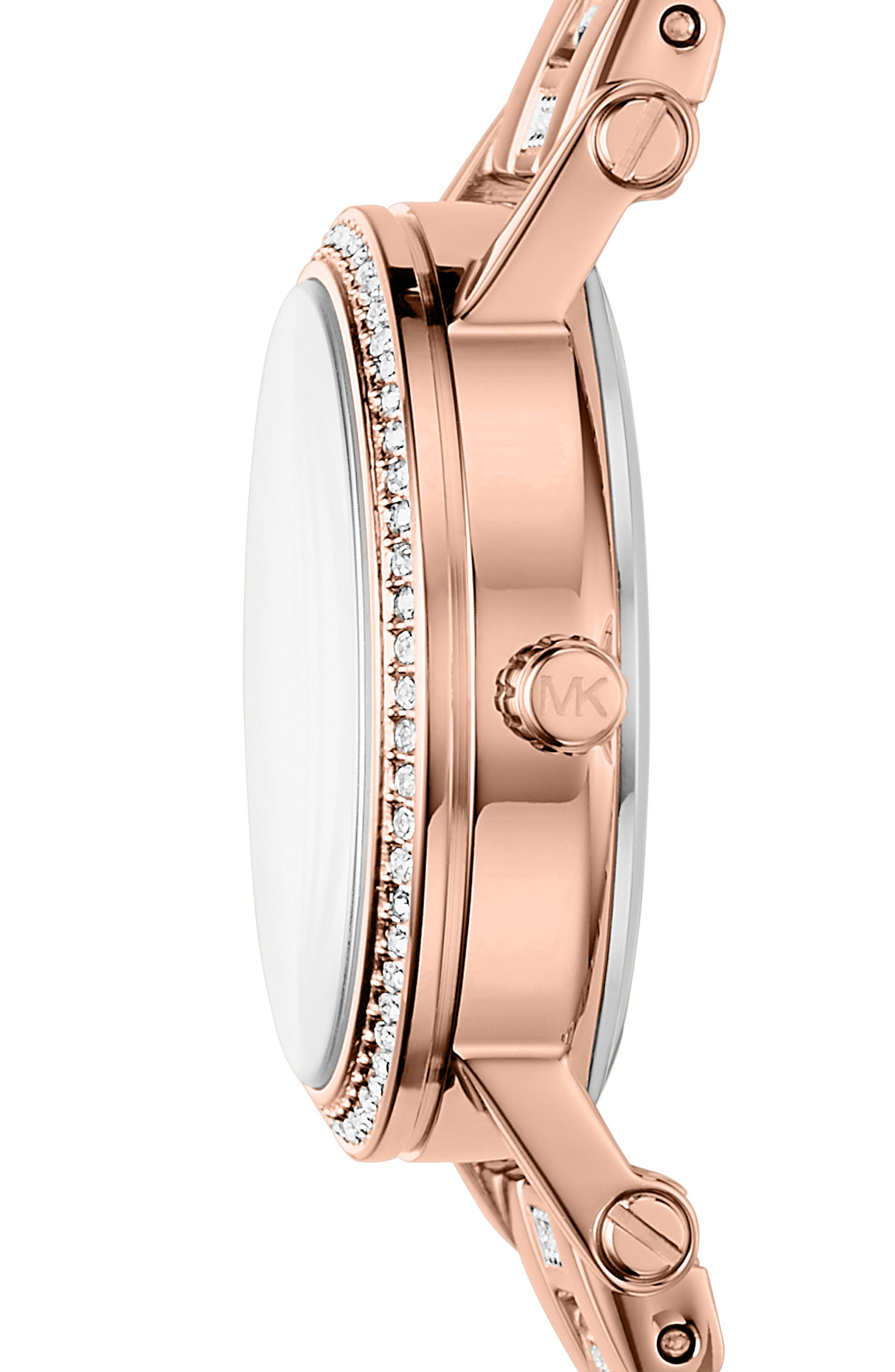 Petite Norie Pavé Bracelet Watch, 28mm,                             Alternate thumbnail 2, color,                             Rose Gold