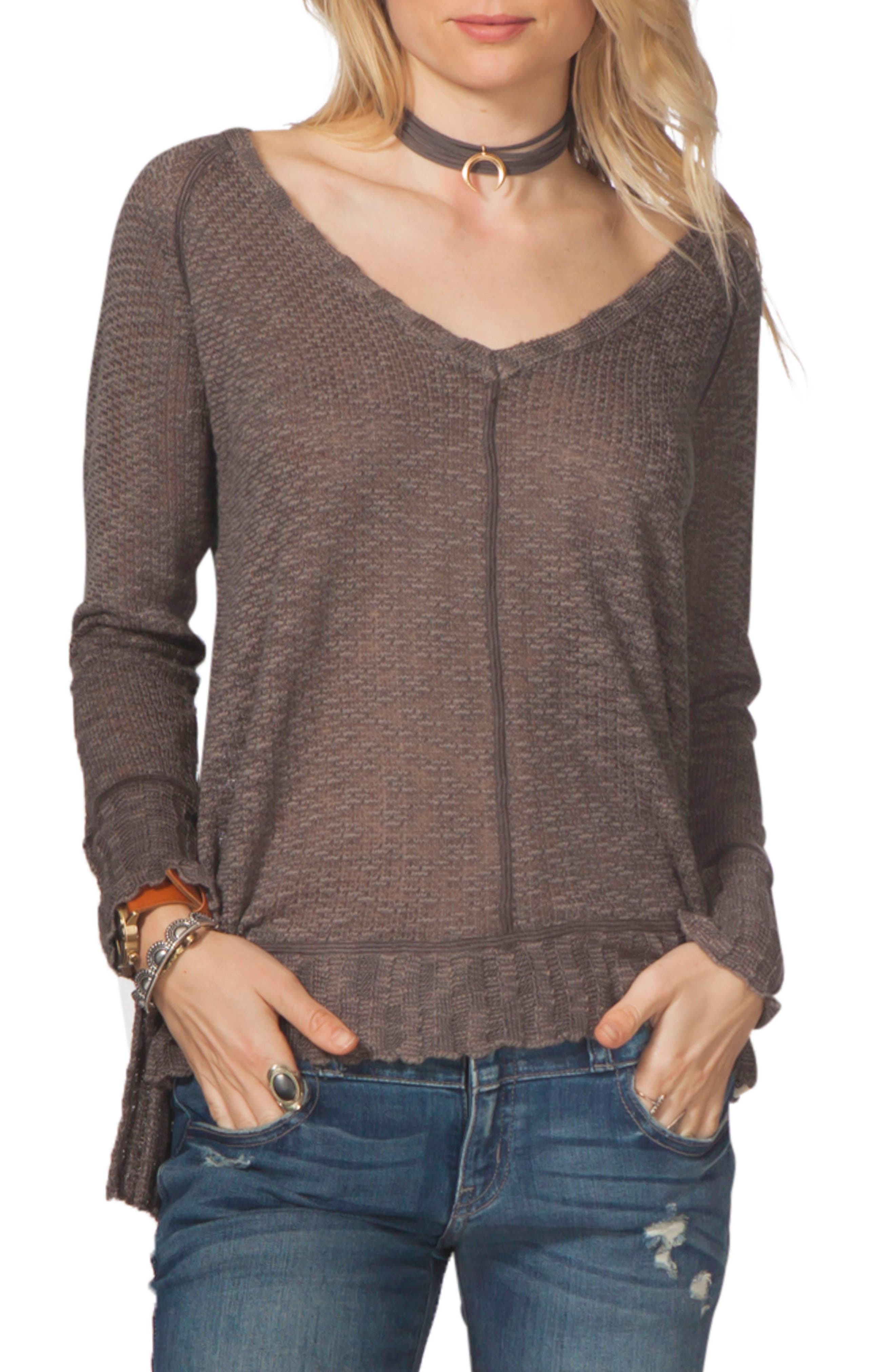 Hideaway Pullover,                         Main,                         color, Charcoal