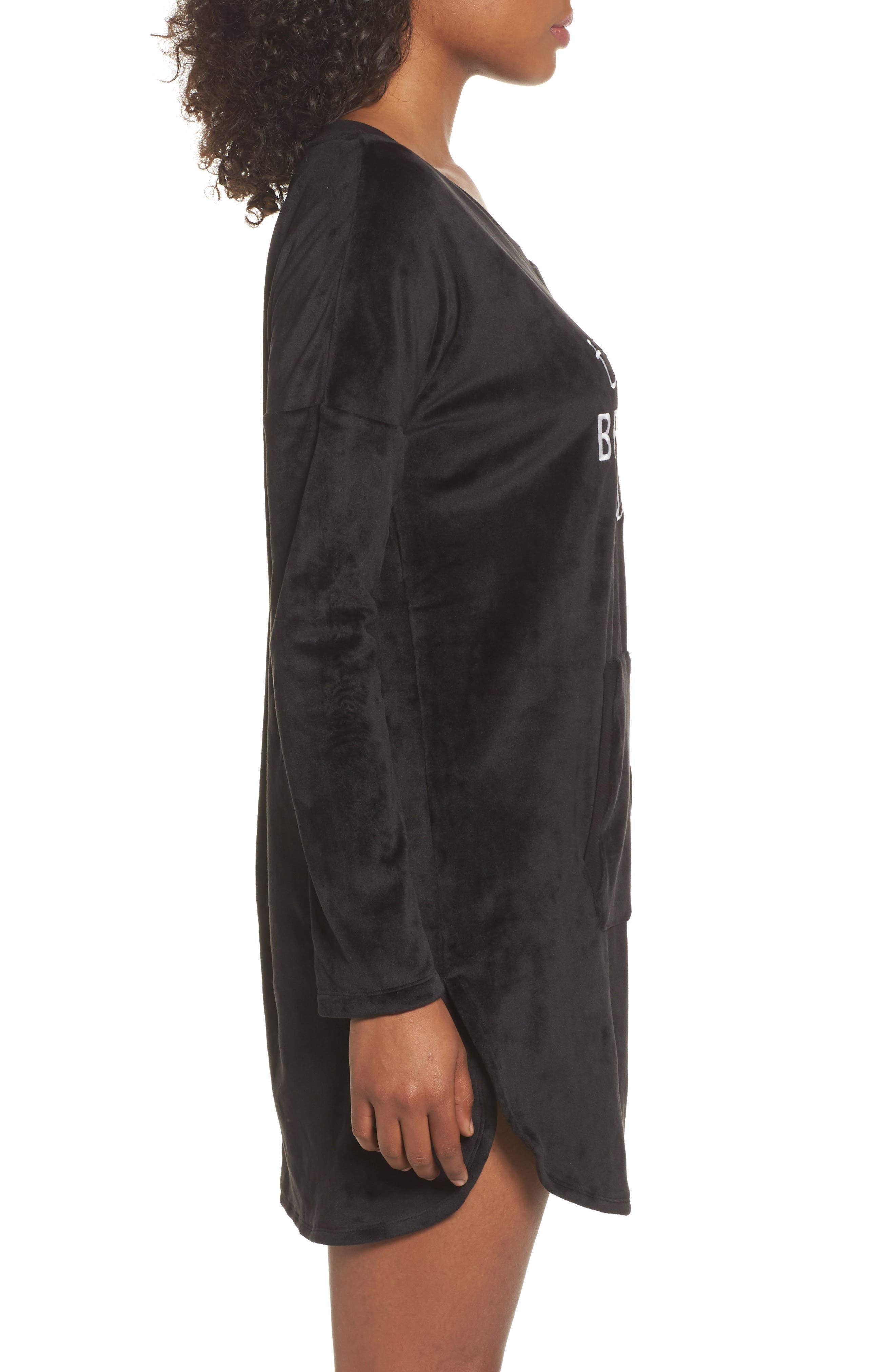Luxury Plush Sleep Shirt,                             Alternate thumbnail 3, color,                             Black