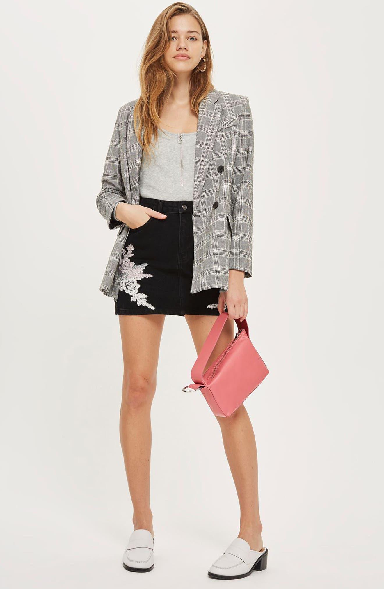 Lace Appliqué Denim Skirt,                             Alternate thumbnail 2, color,                             Black Multi