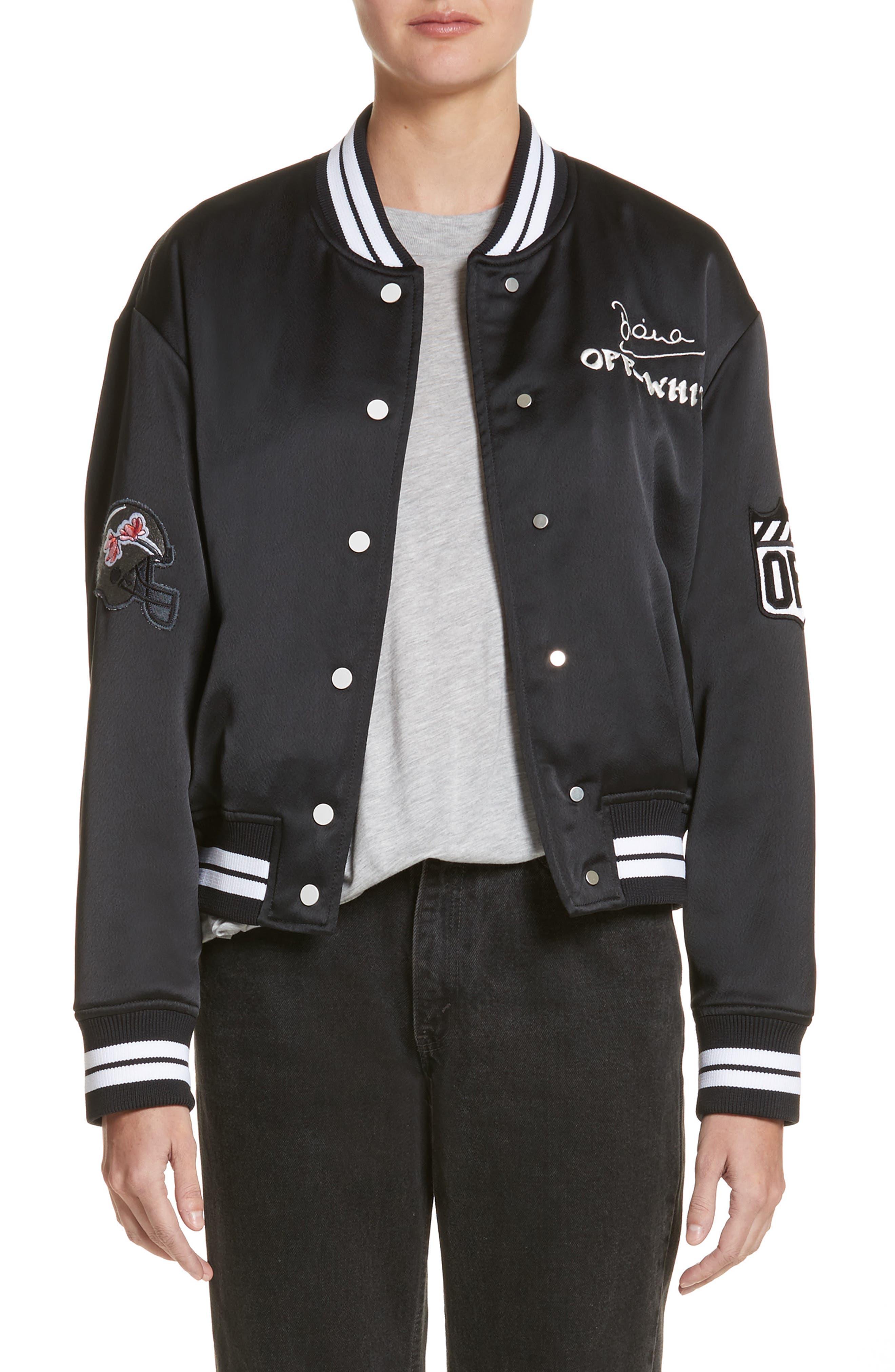 Varsity Bomber Jacket,                             Main thumbnail 1, color,                             Black/ White