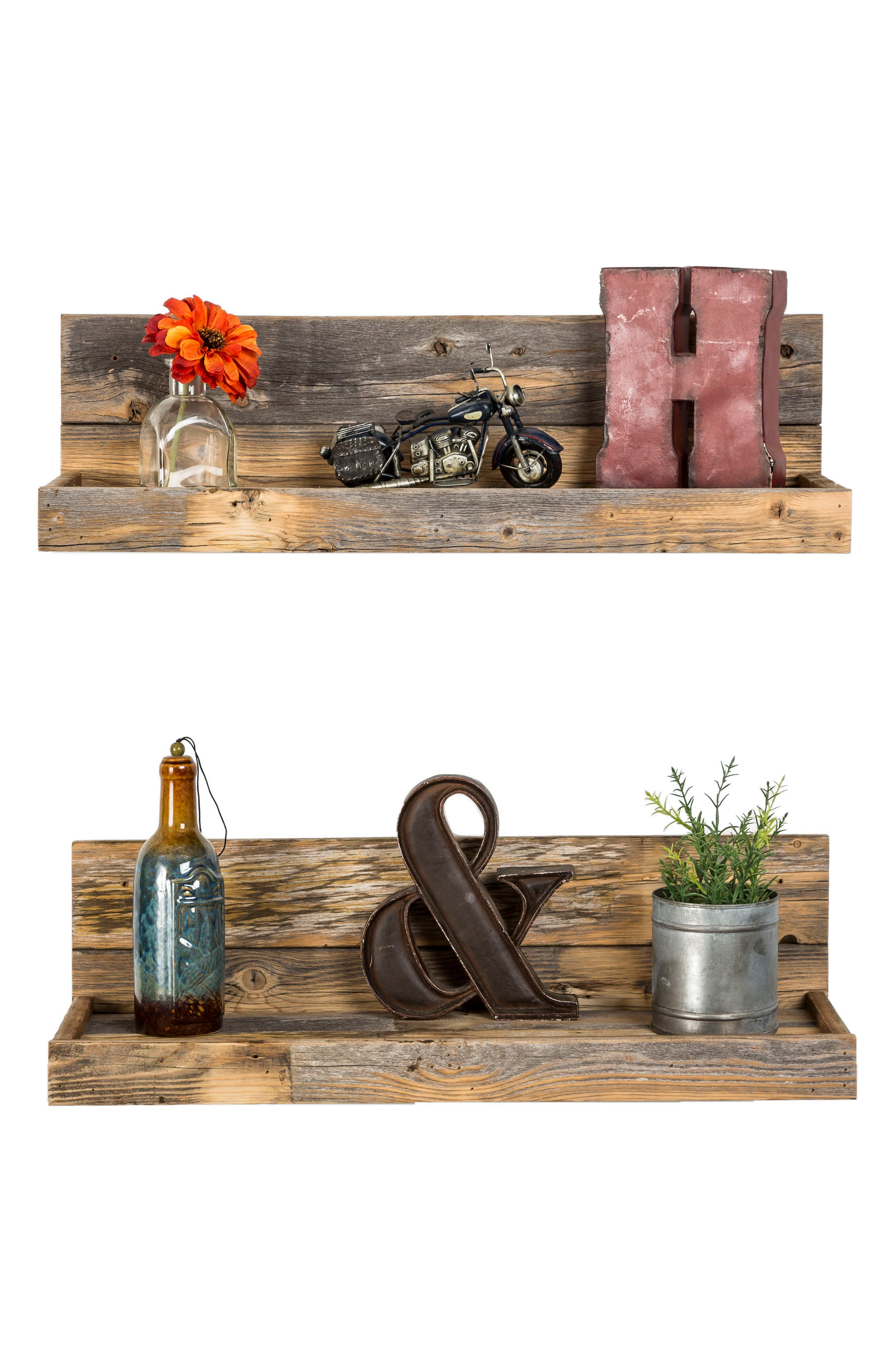 Set of 2 Floating Reclaimed Barnwood Shelves,                             Alternate thumbnail 3, color,                             Natural