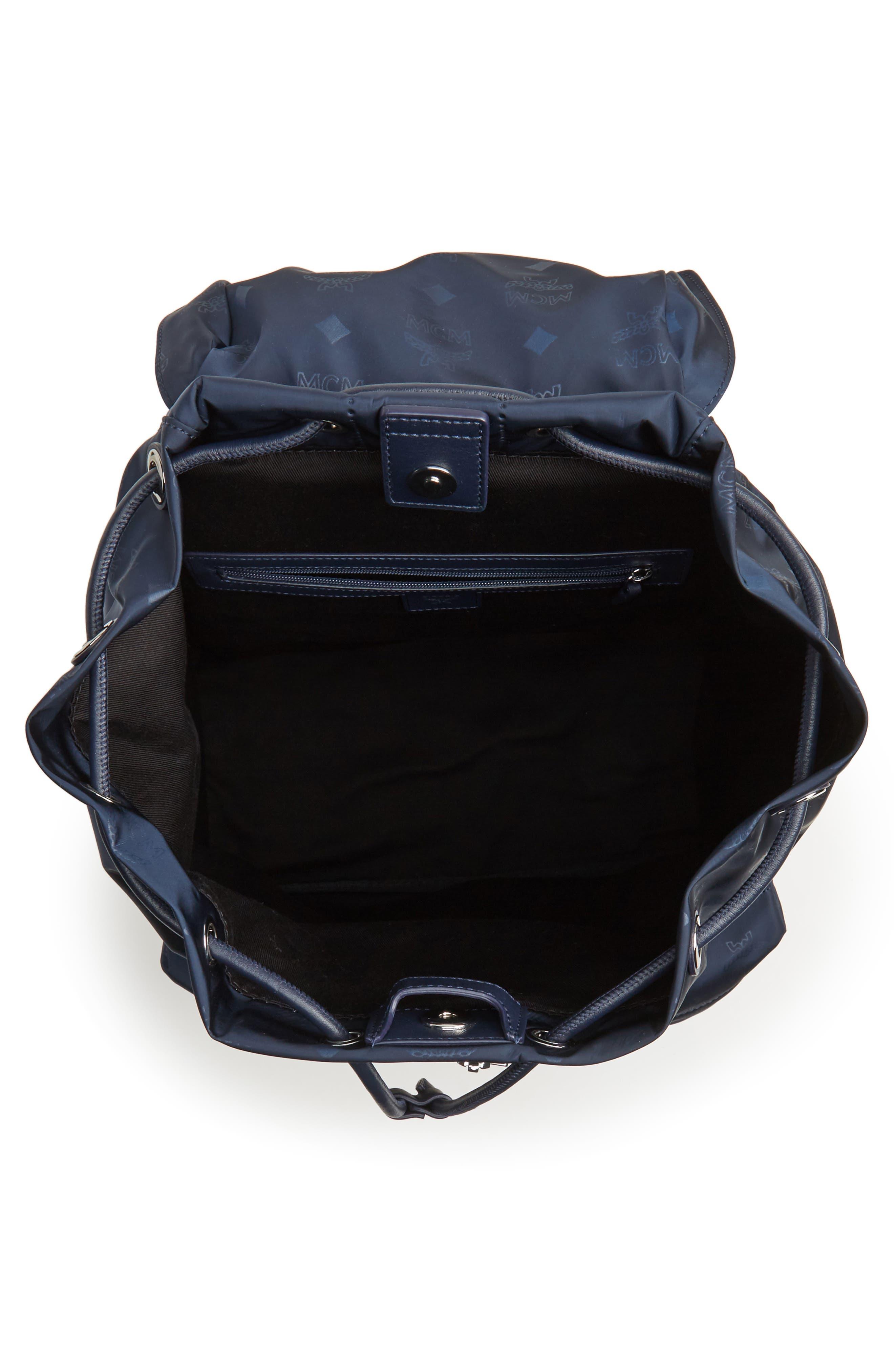 Small Dieter Monogrammed Nylon Backpack,                             Alternate thumbnail 4, color,                             Navy