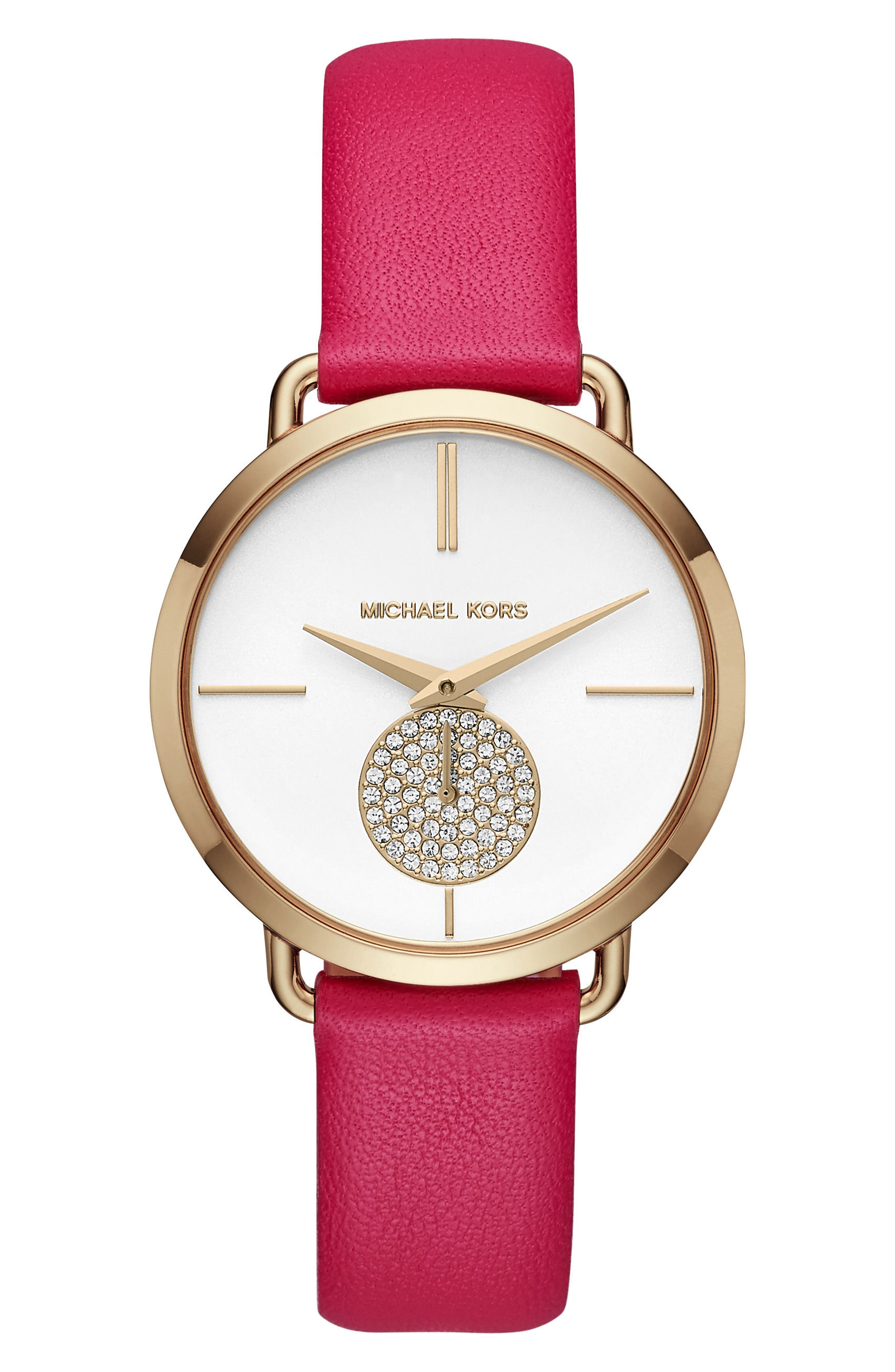 Portia Leather Strap Watch, 36mm,                         Main,                         color, Pink/ White/ Gold