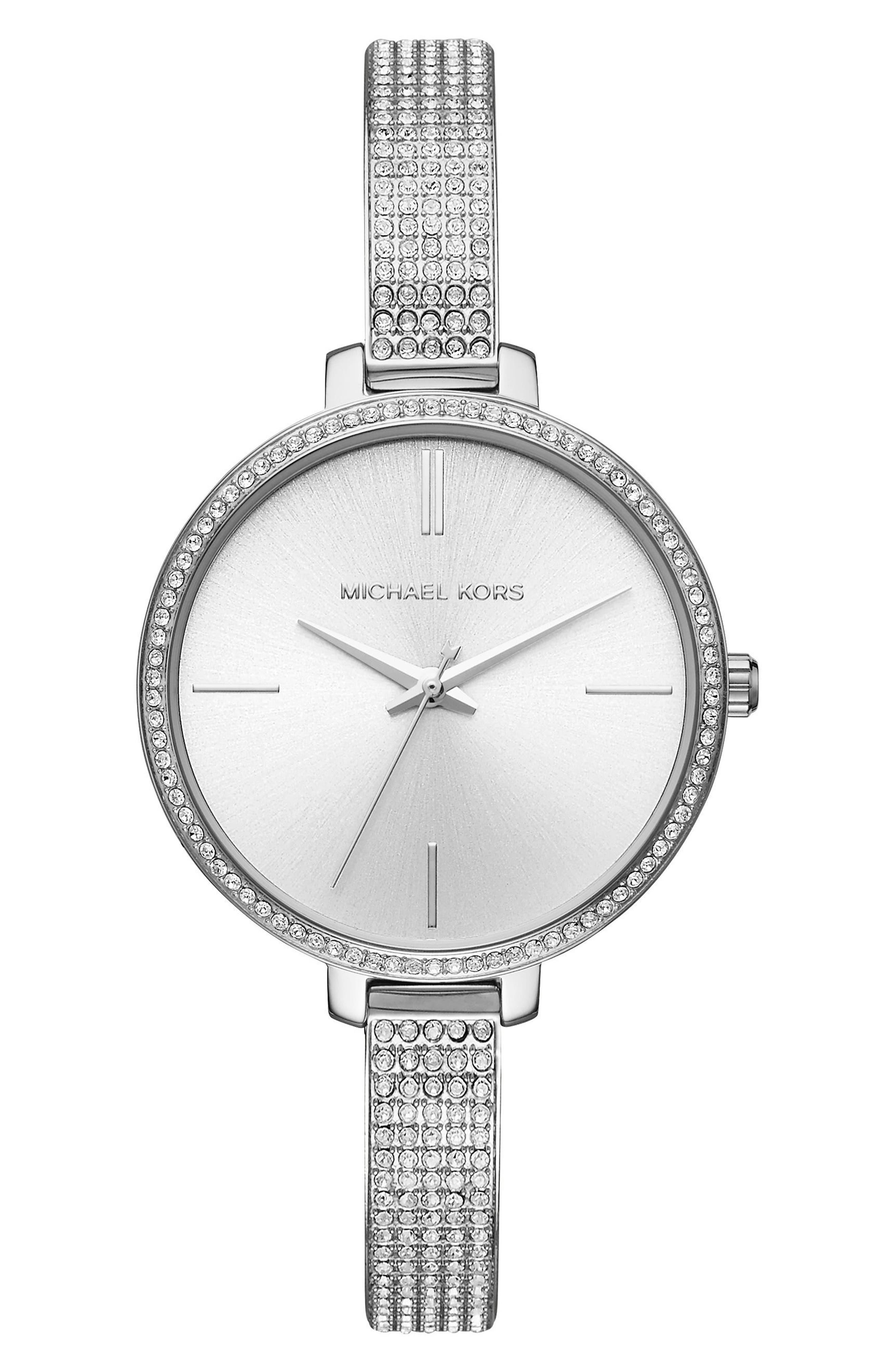Jaryn Pavé Bangle Watch, 36mm,                         Main,                         color, Silver