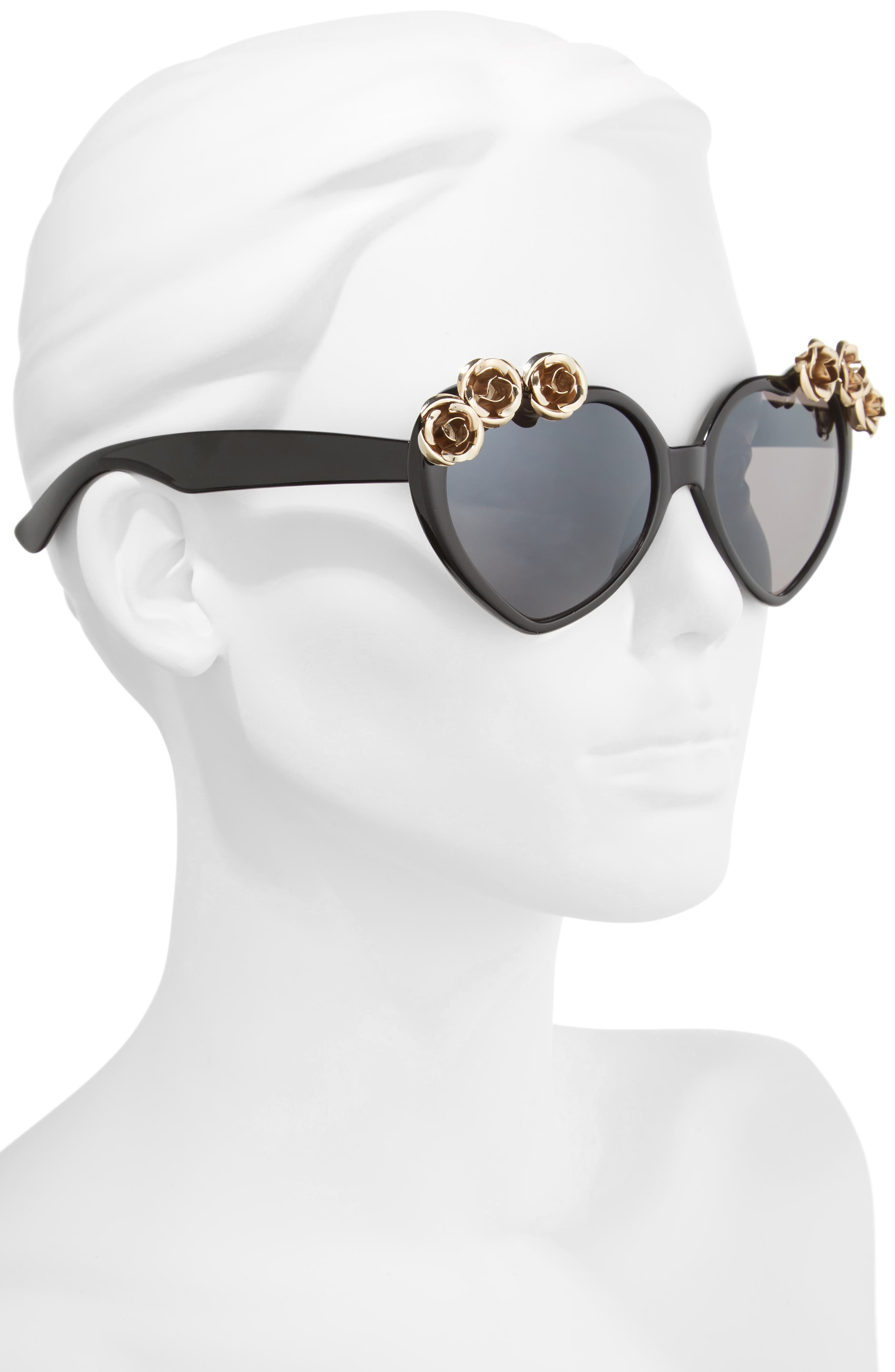 58mm Rose Embellished Heart Sunglasses,                             Alternate thumbnail 2, color,                             Black/ Gold