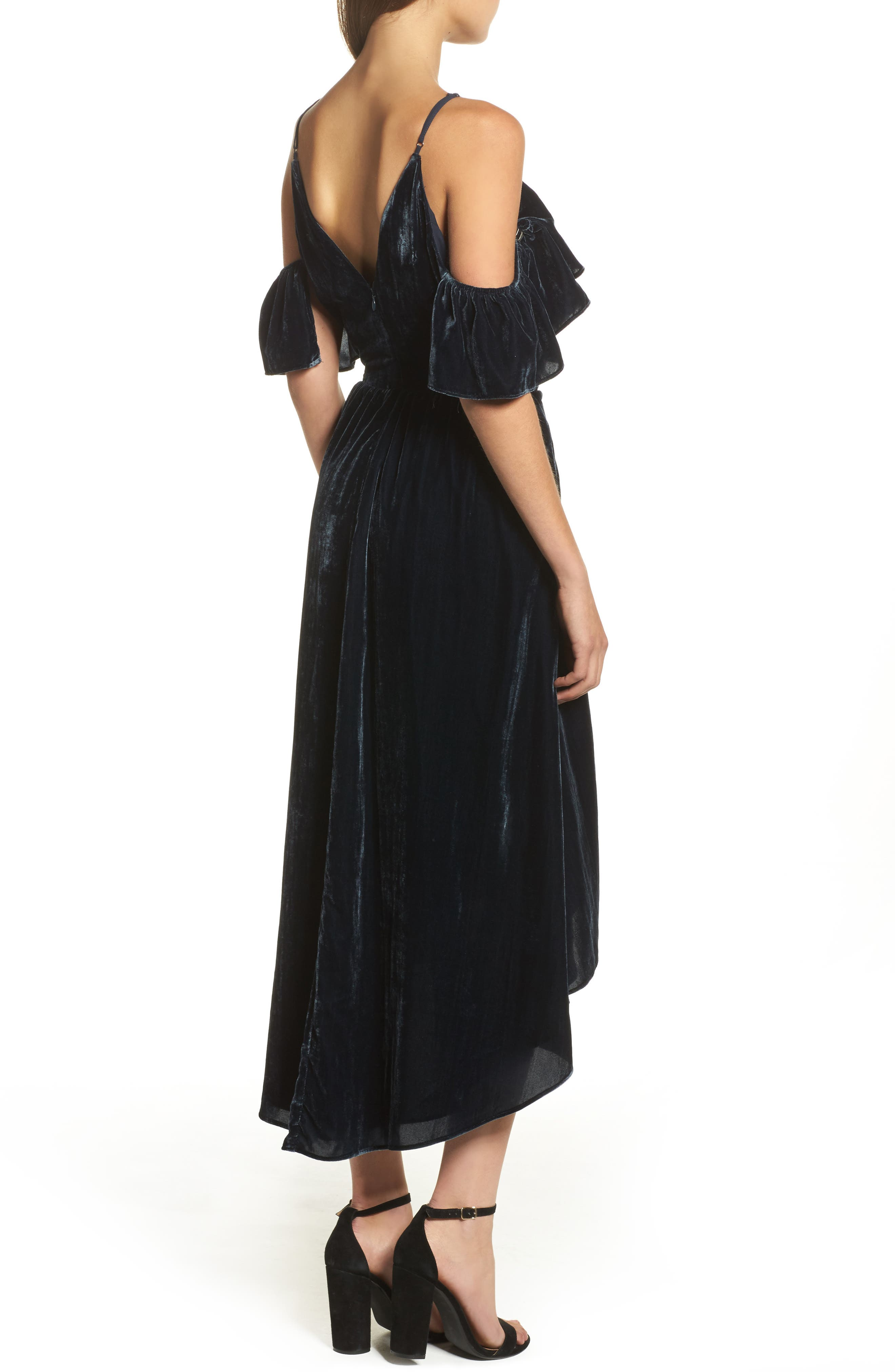 Alternate Image 2  - Chelsea28 Cold Shoulder Velvet Midi Dress