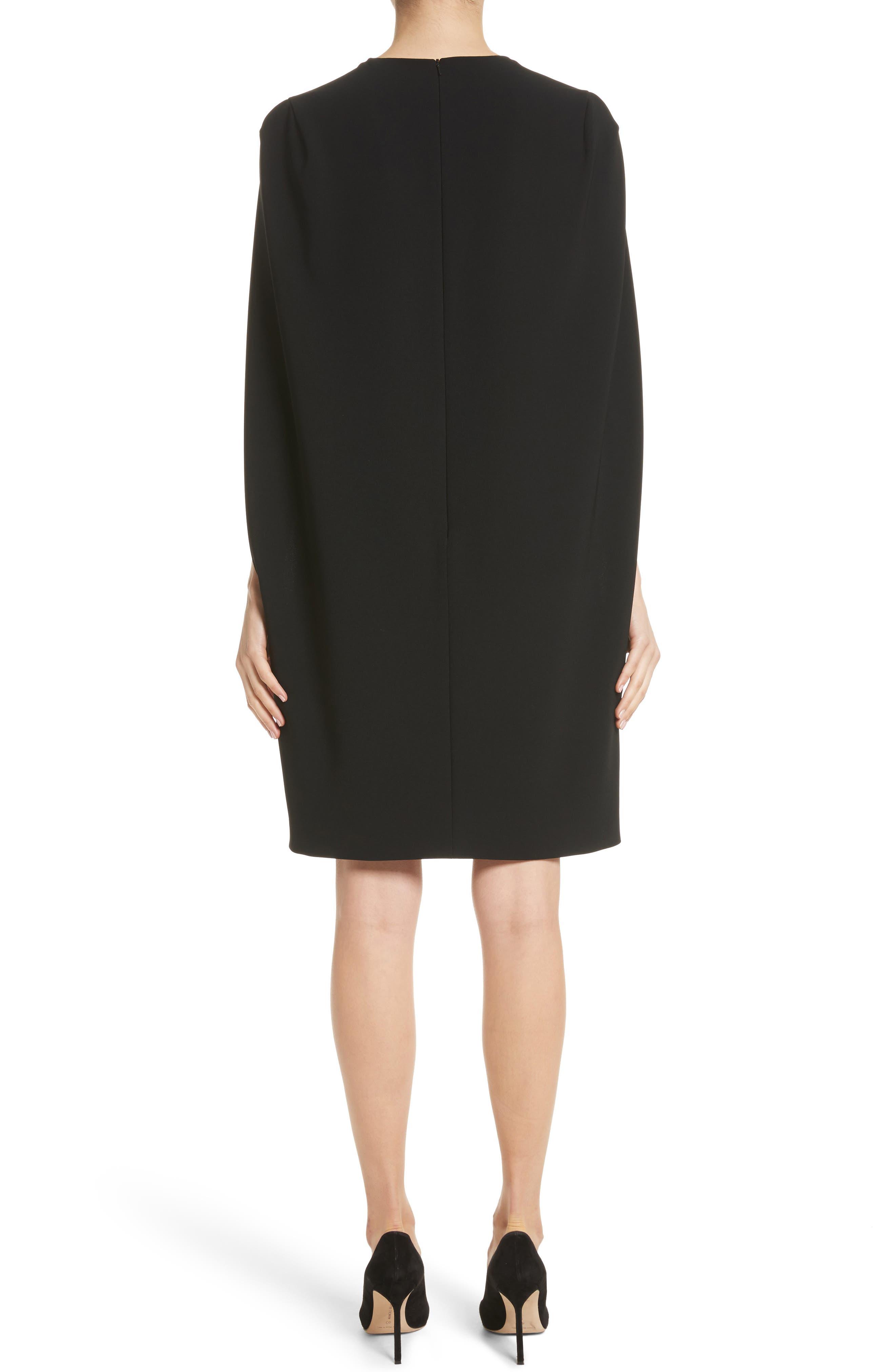 Sospiro Cape Shift Dress,                             Alternate thumbnail 2, color,                             Black
