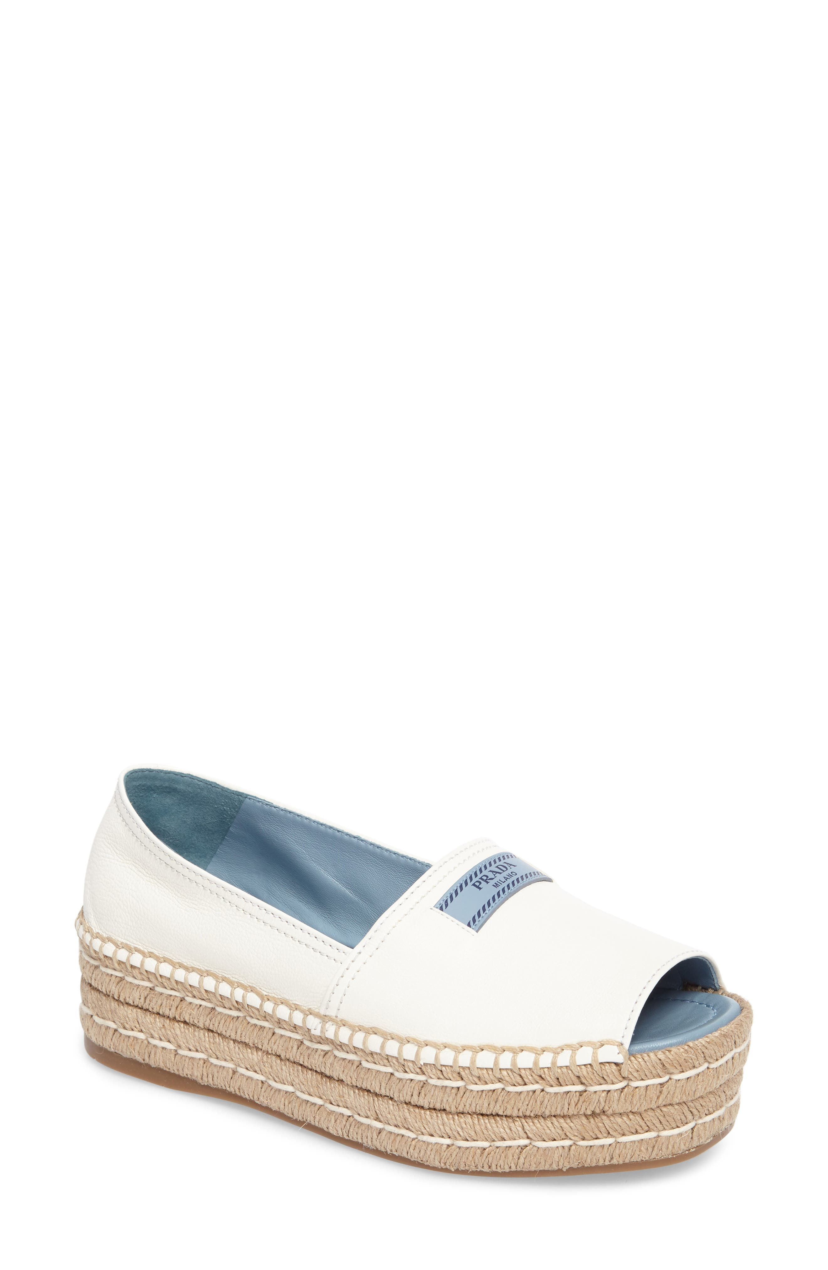 Prada Peep Toe Flatform Espadrille (Women)