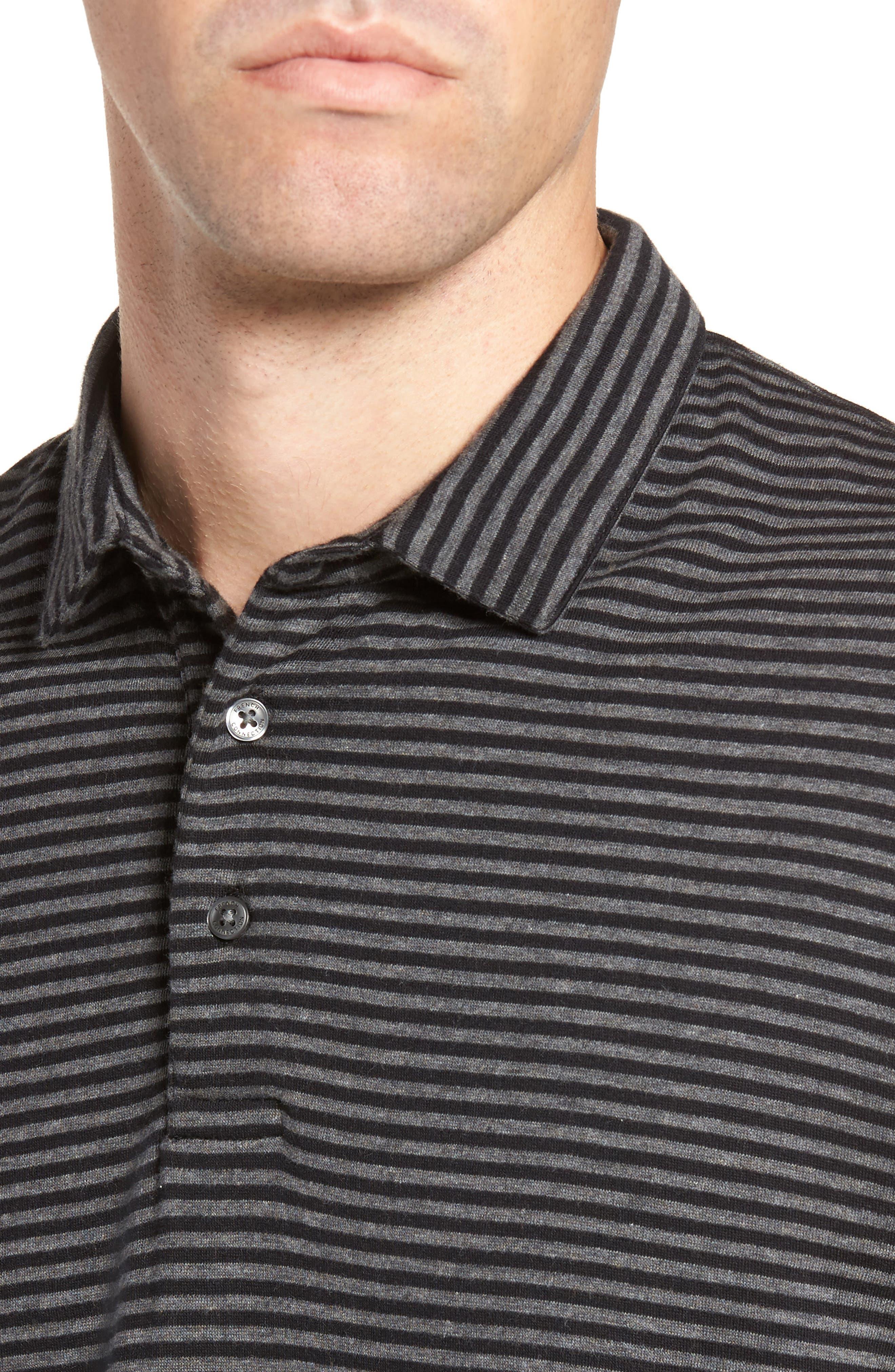 Alternative Stripe Short Sleeve Polo,                             Alternate thumbnail 4, color,                             Charcoal Melange/ Black