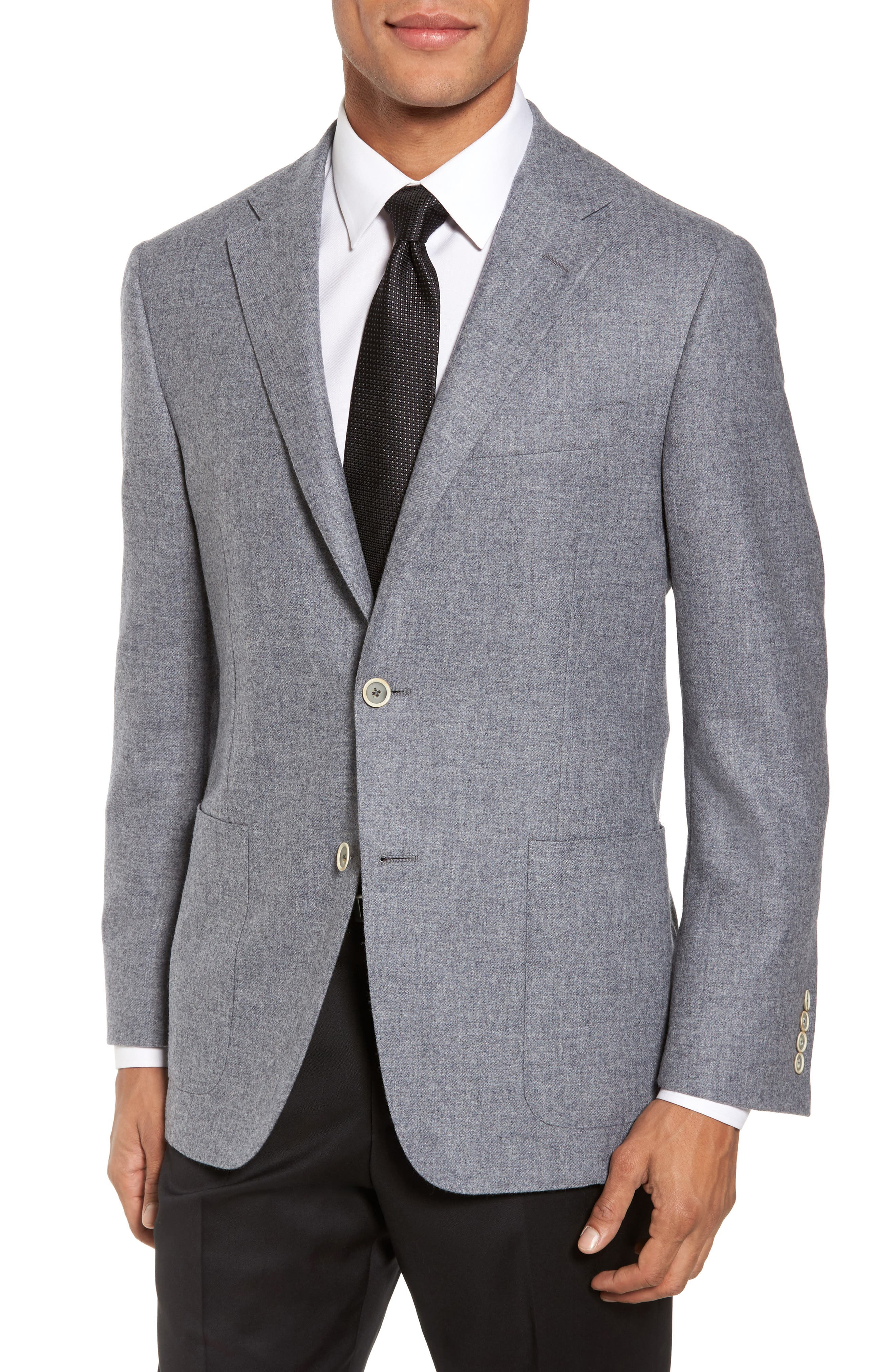 Classic B Fit Wool & Cashmere Blazer,                         Main,                         color, Light Grey Solid
