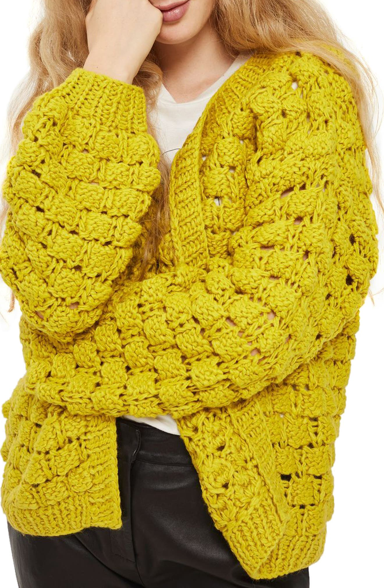 Bobble Stitch Cardigan,                             Alternate thumbnail 3, color,                             Chartreuse
