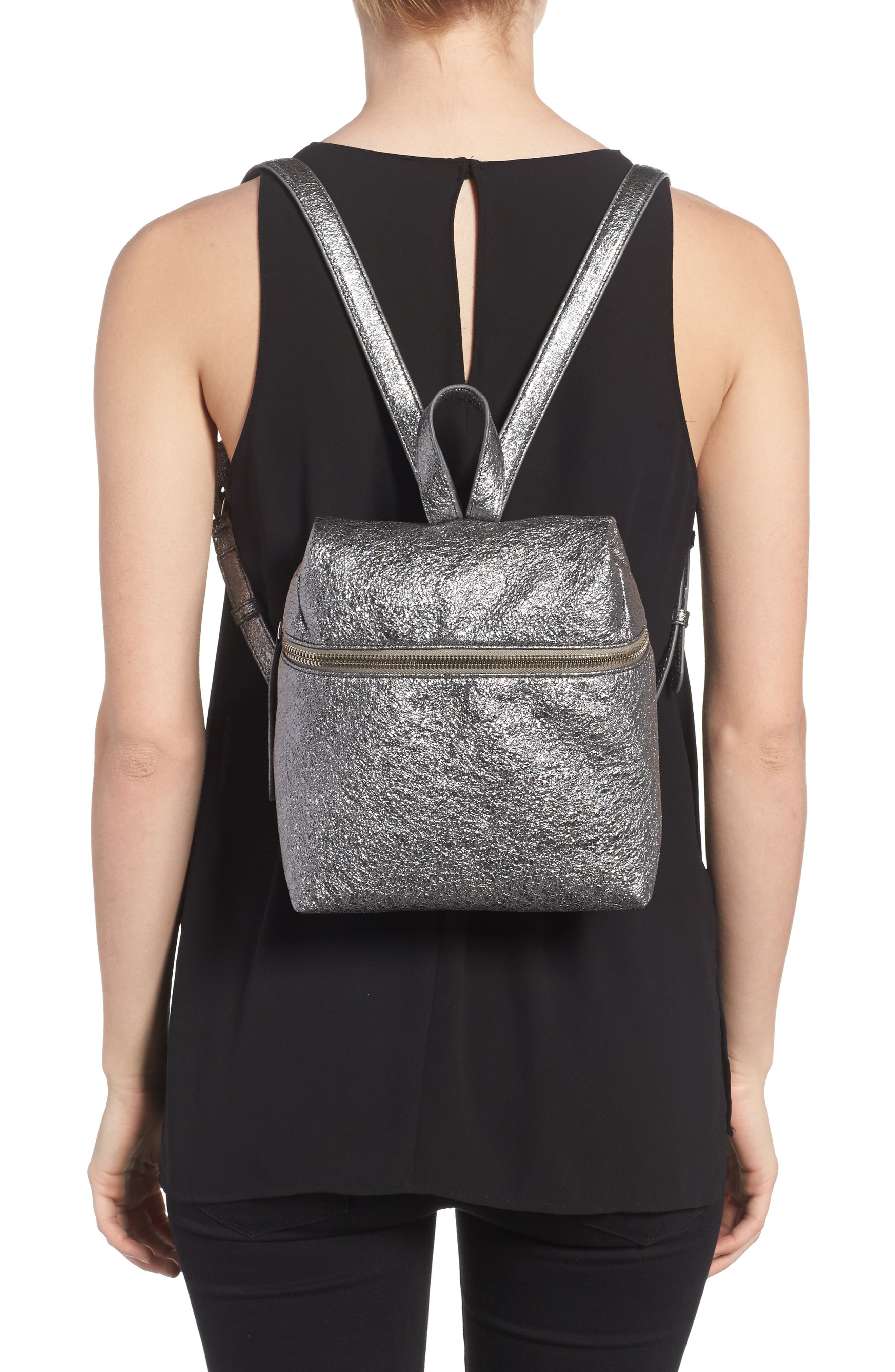 Small Crinkled Metallic Leather Backpack,                             Alternate thumbnail 2, color,                             Pyrite