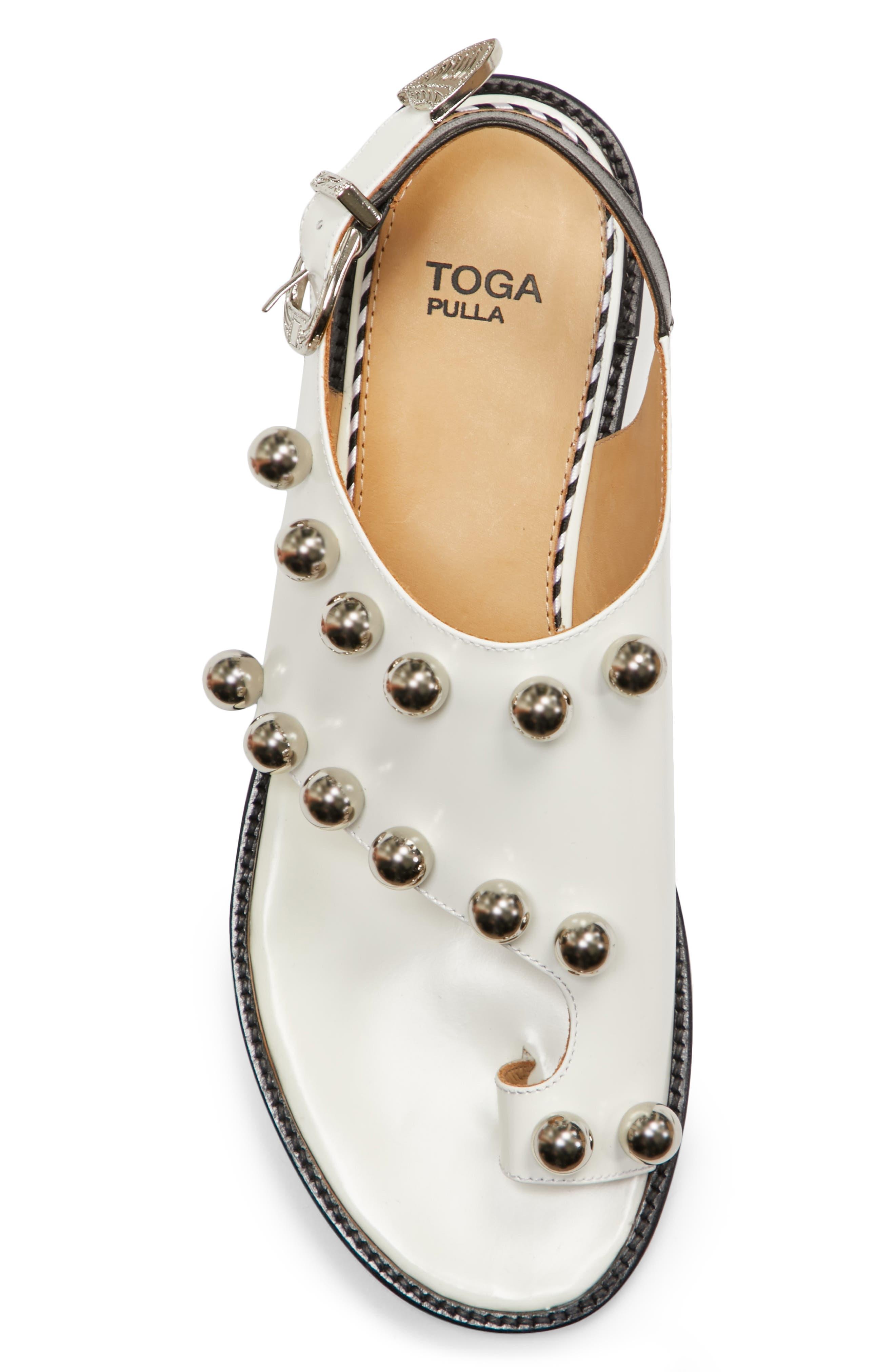 Round Stud Sandal,                             Alternate thumbnail 5, color,                             White Polido