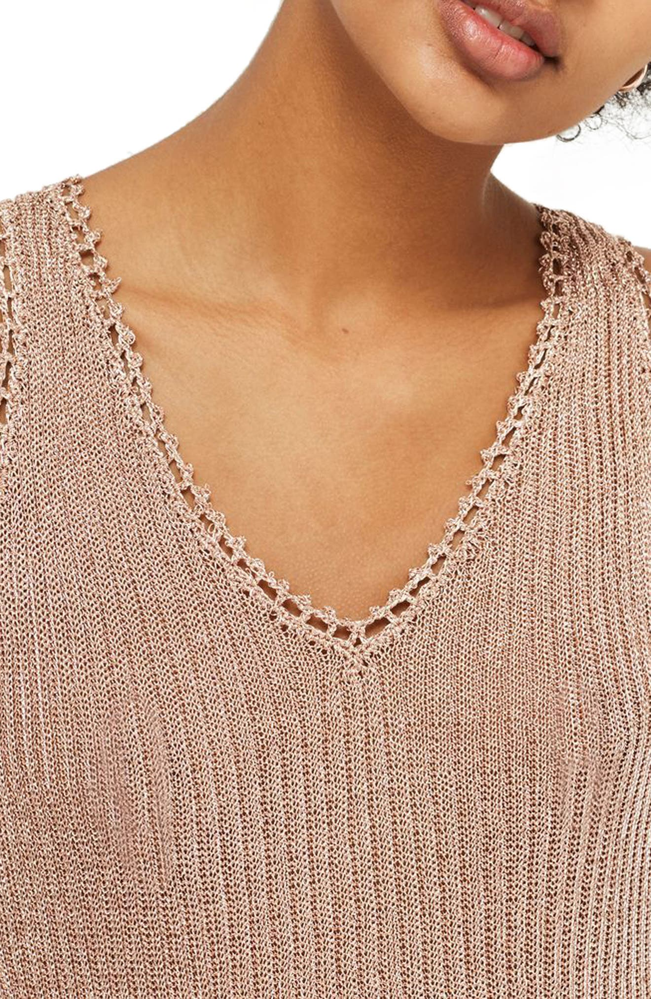 Metallic Ribbed Sweater Tank,                             Alternate thumbnail 3, color,                             Rose Gold