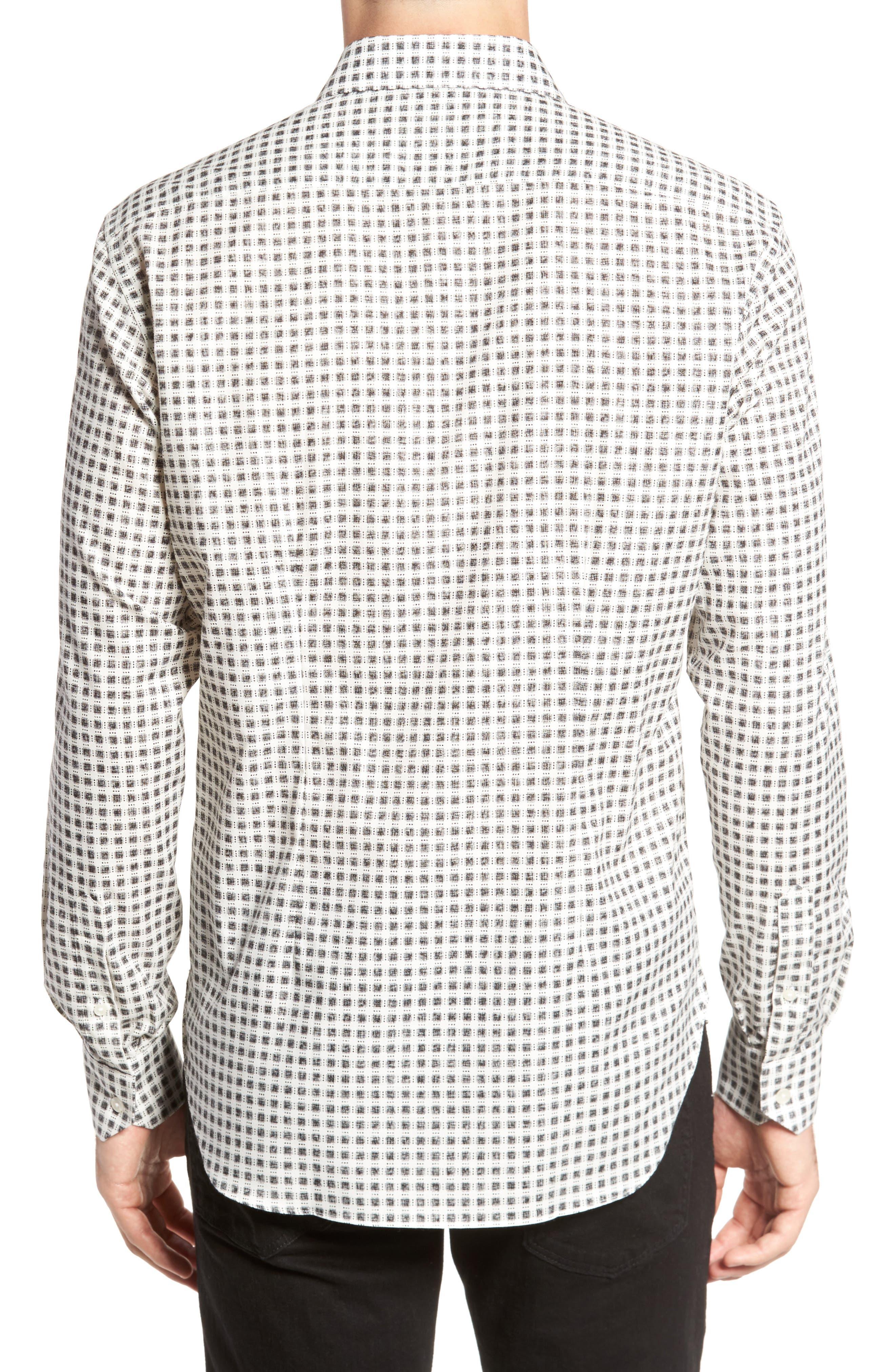 Square Print Sport Shirt,                             Alternate thumbnail 2, color,                             White