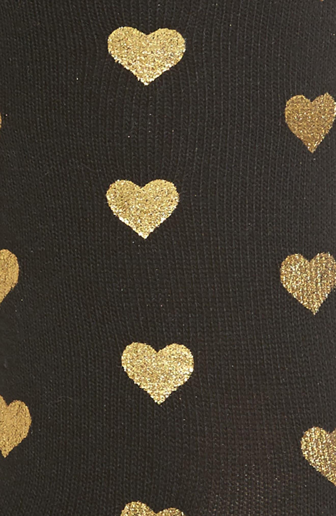 Foil Heart Crew Socks,                             Alternate thumbnail 2, color,                             Black W/Gold