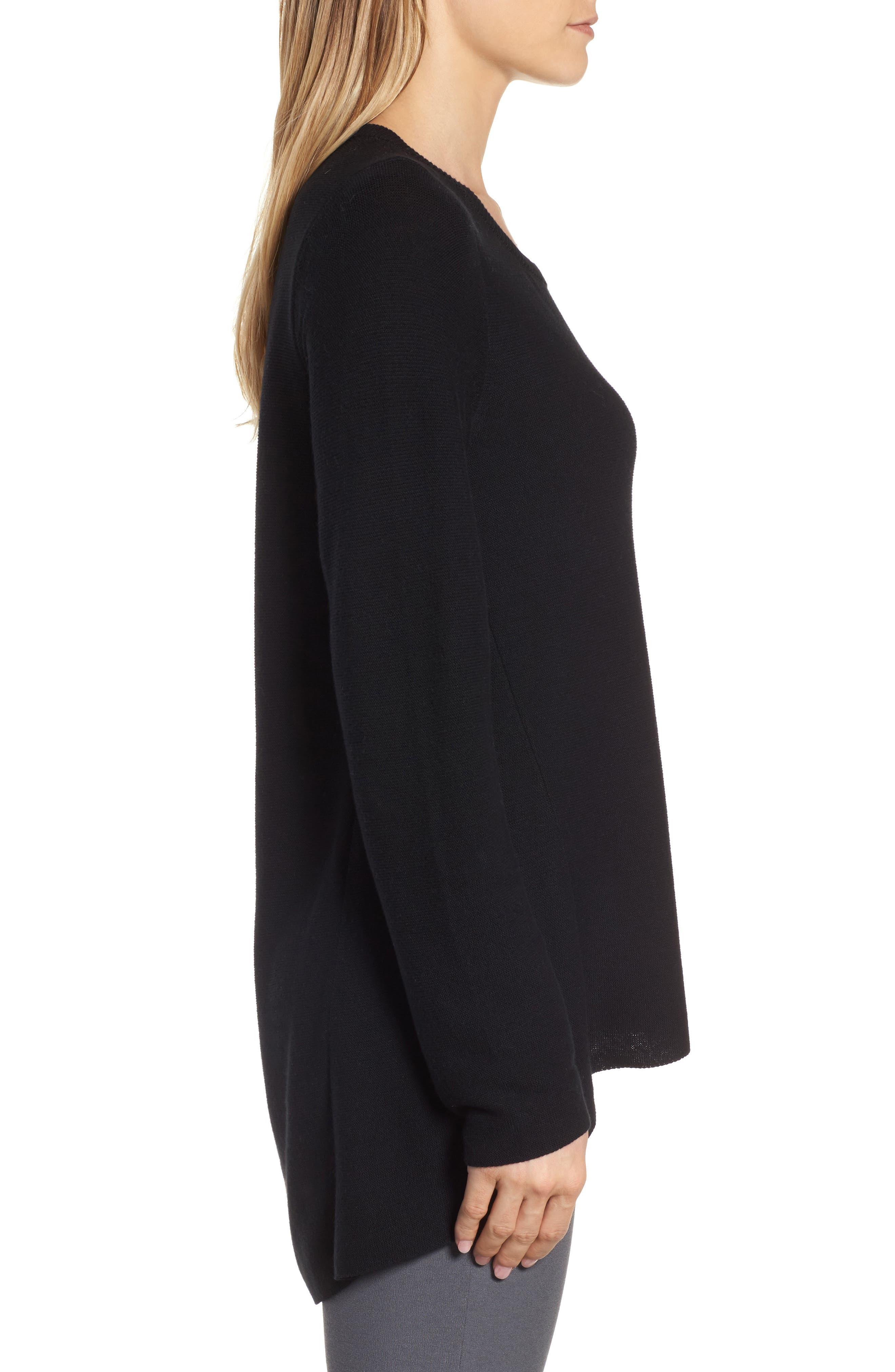Organic Cotton Tunic Sweater,                             Alternate thumbnail 3, color,                             Black