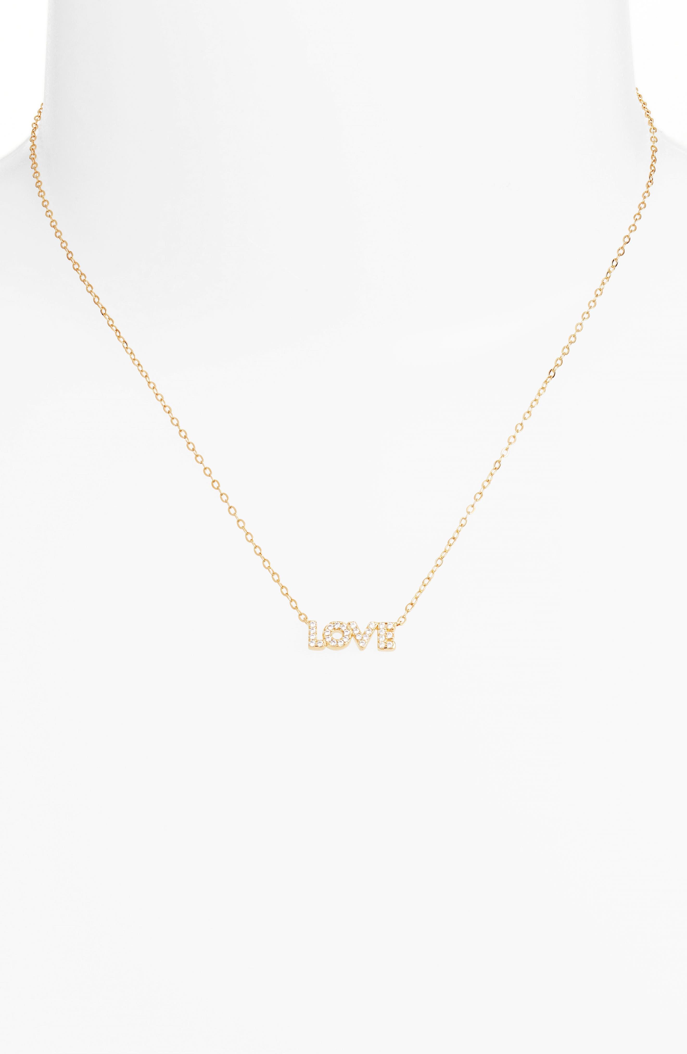 Sentimental Love Pendant Necklace,                             Alternate thumbnail 2, color,                             Gold