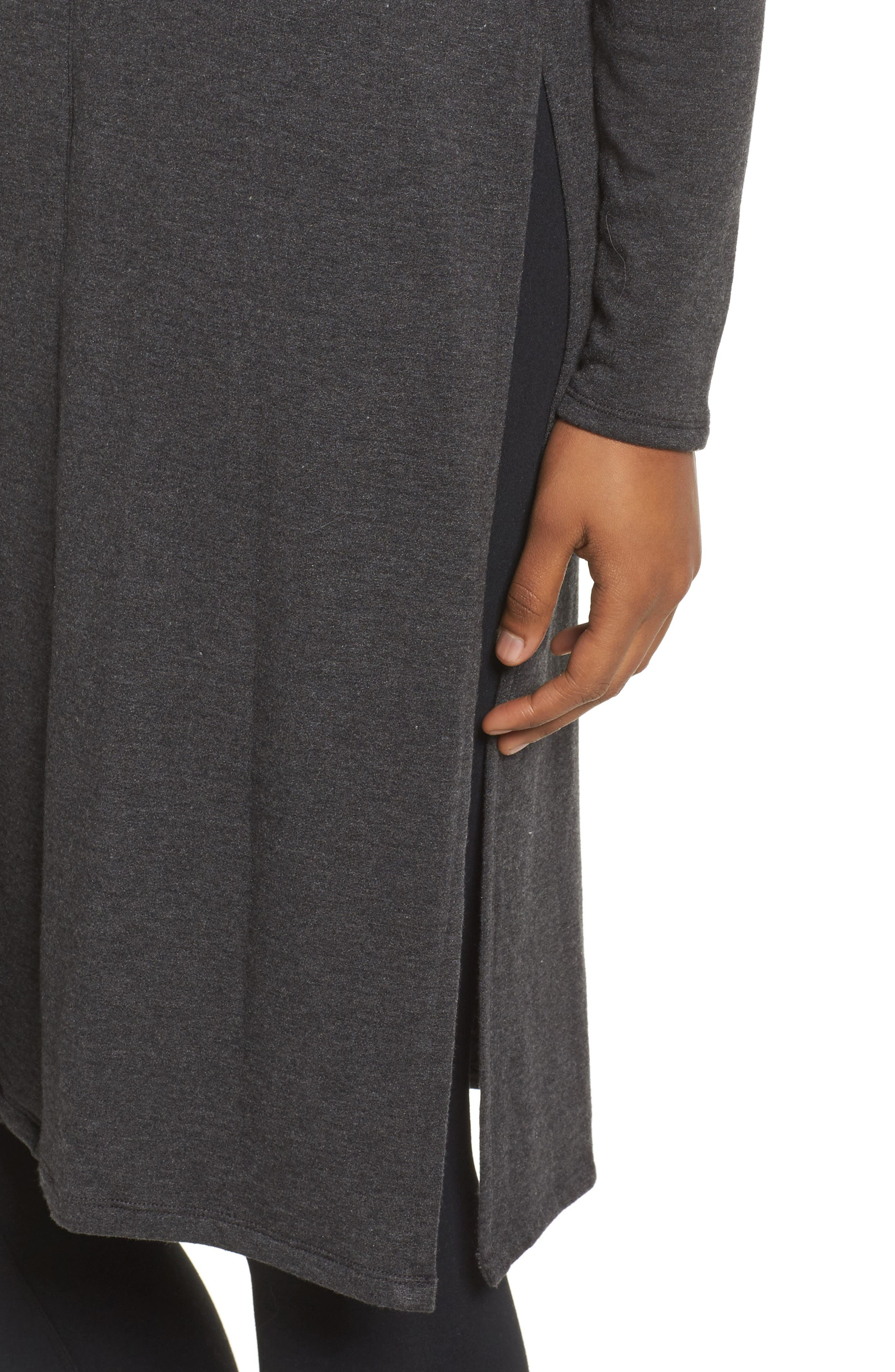 Slit Duster,                             Alternate thumbnail 4, color,                             Charcoal Heather Grey