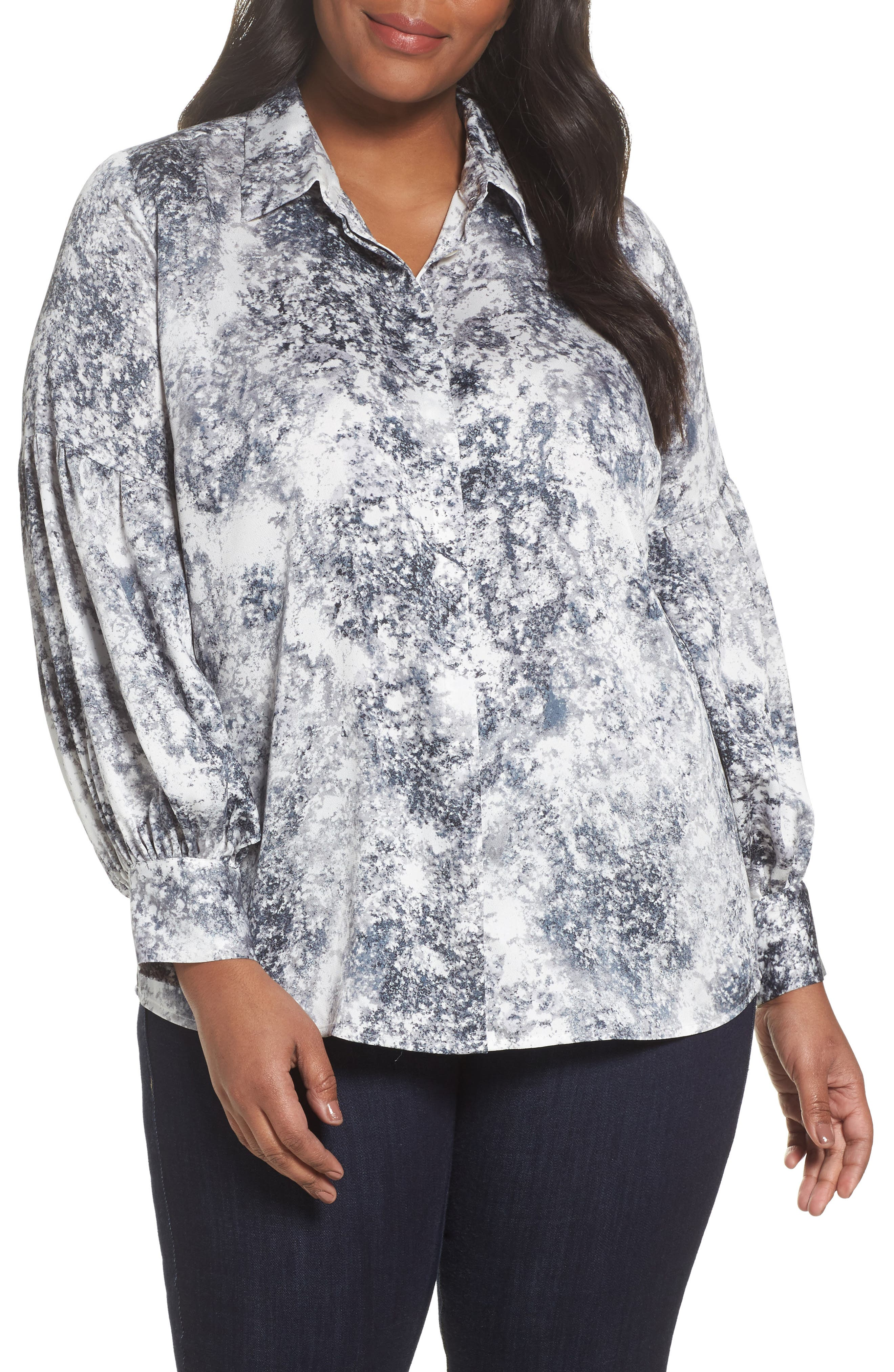 Main Image - Vince Camuto Speckled Print Blouse (Plus Size)