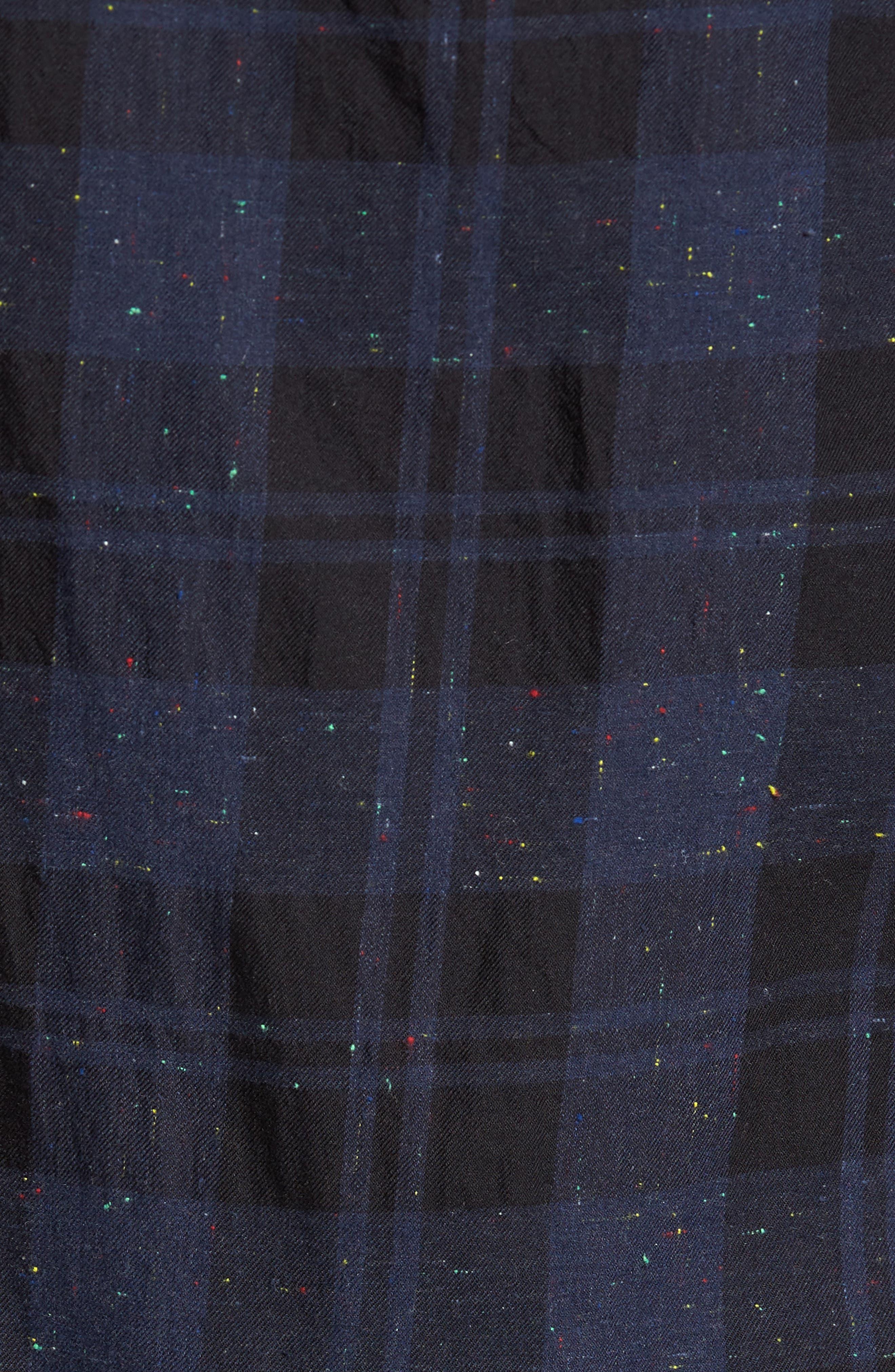 Long Sleeve Plaid Nep Shirt,                             Alternate thumbnail 5, color,                             Navy- Black Nepped Plaid