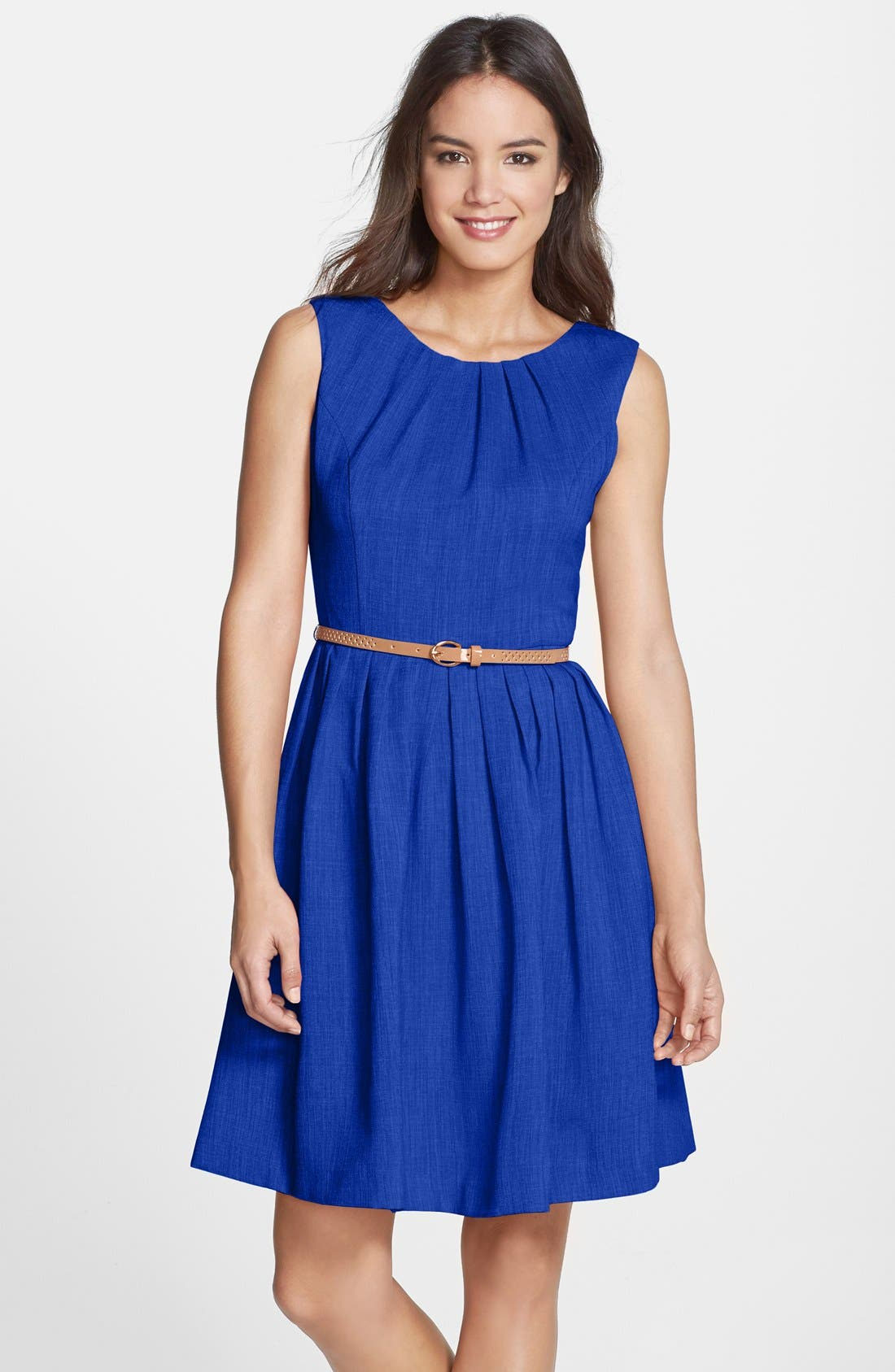 Alternate Image 1 Selected - Ellen Tracy 'Kenya' Belted Pleated Cotton Fit & Flare Dress (Petite)