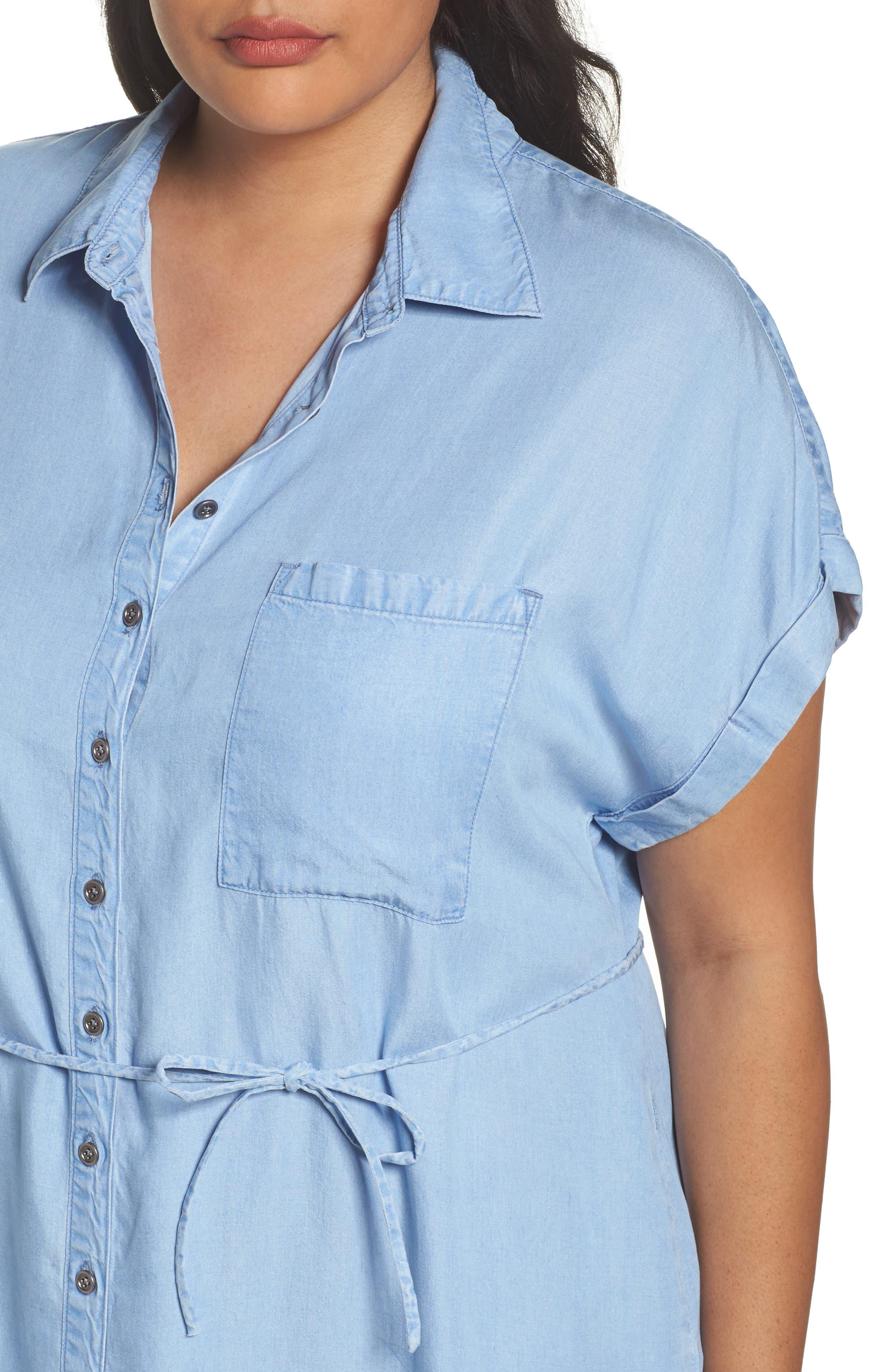 Alternate Image 5  - Rebel Wilson x Angels Chambray Button-Up Shirtdress (Plus Size)