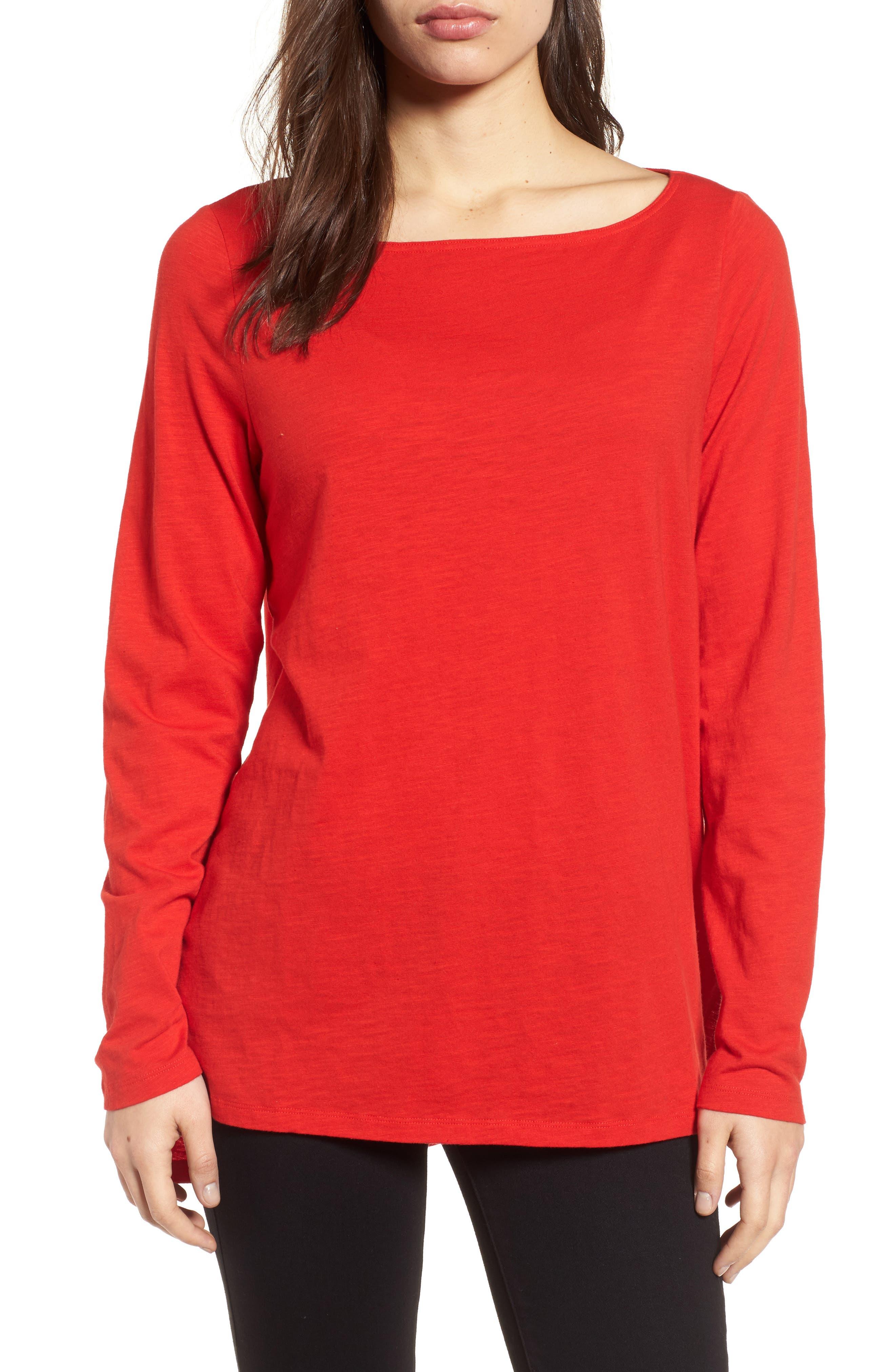 Eileen Fisher Bateau Neck Top (Regular & Petite)